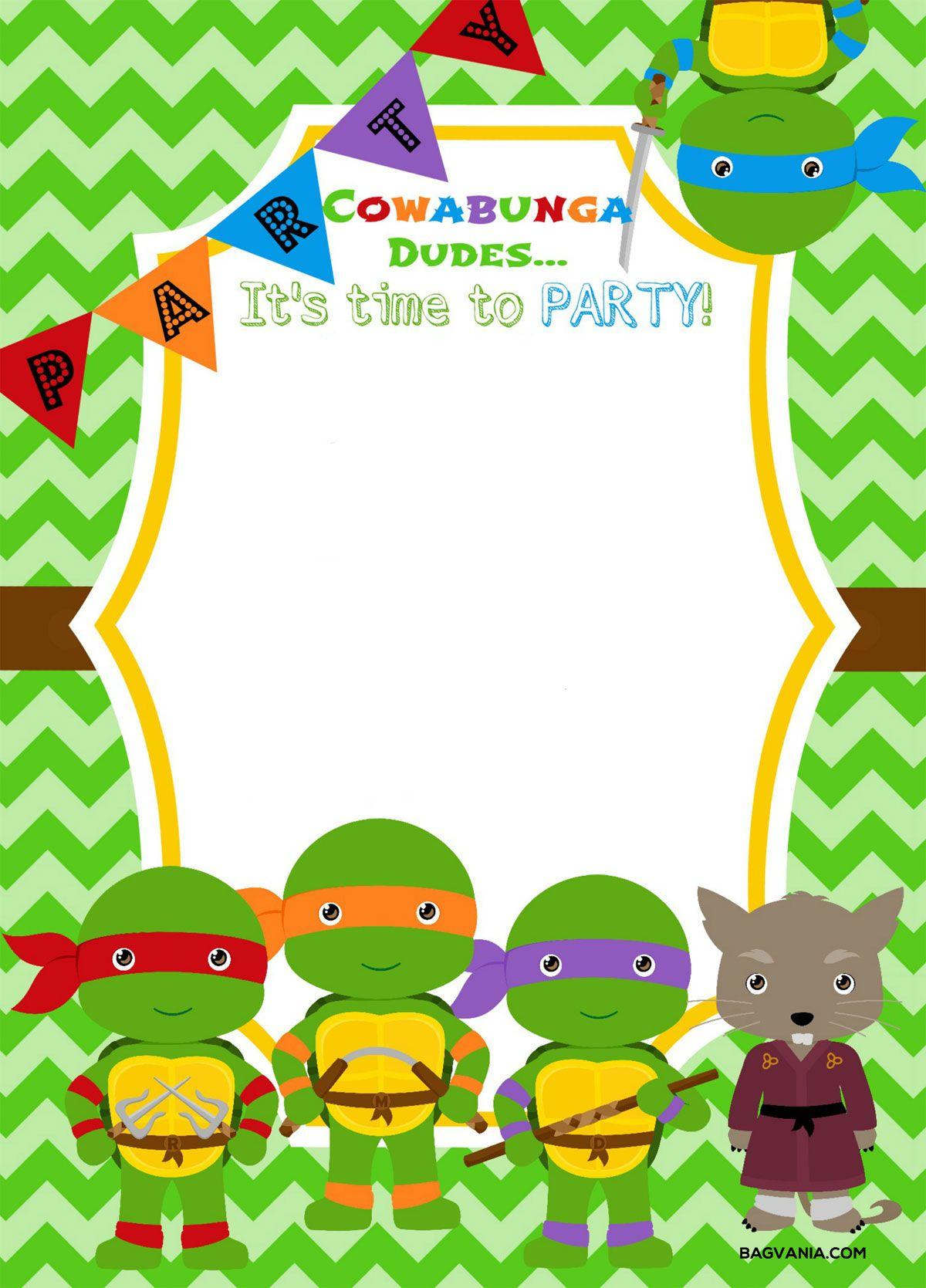 Free Printable Ninja Turtle Birthday Party Invitations – Bagvania - Free Printable Turtle Baby Shower Invitations
