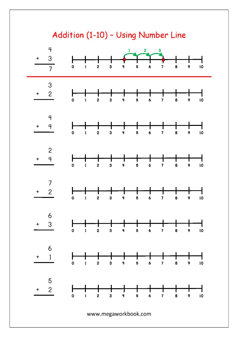 Free Printable Number Addition Worksheets (1-10) For Kindergarten - Free Printable Number Line