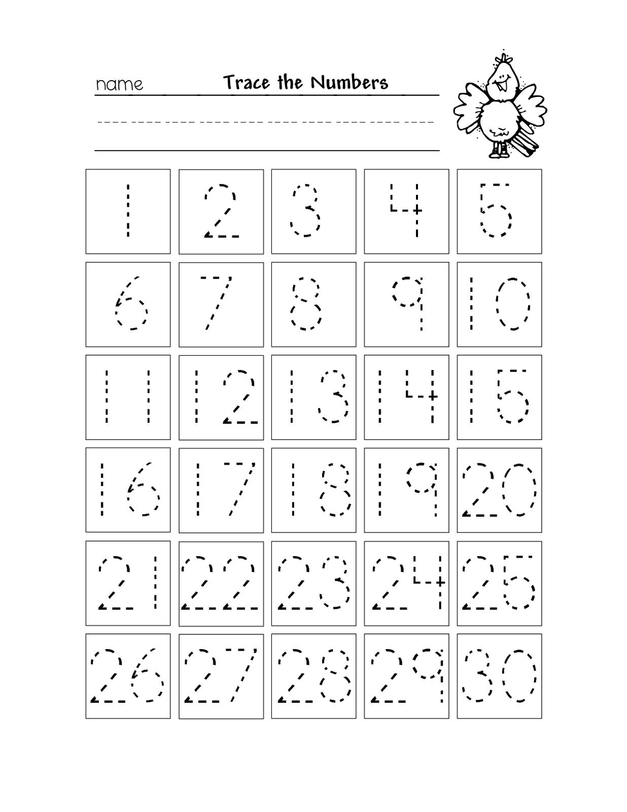 Free Printable Number Chart 1-30 | Kinder | Numbers Preschool - Free Printable Number Worksheets