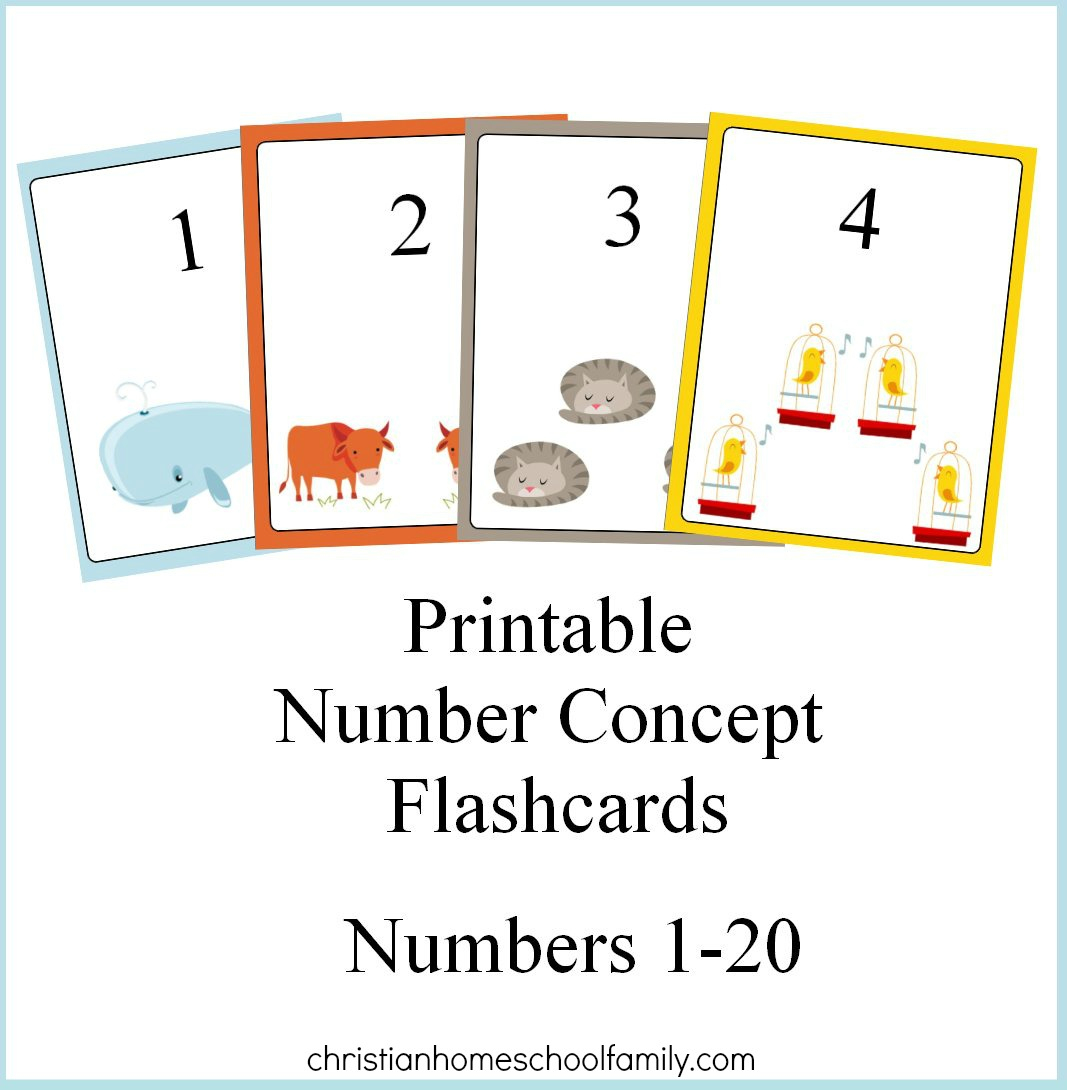 Free Printable Number Concept Flashcards - Christian Homeschool Family - Free Printable Number Cards