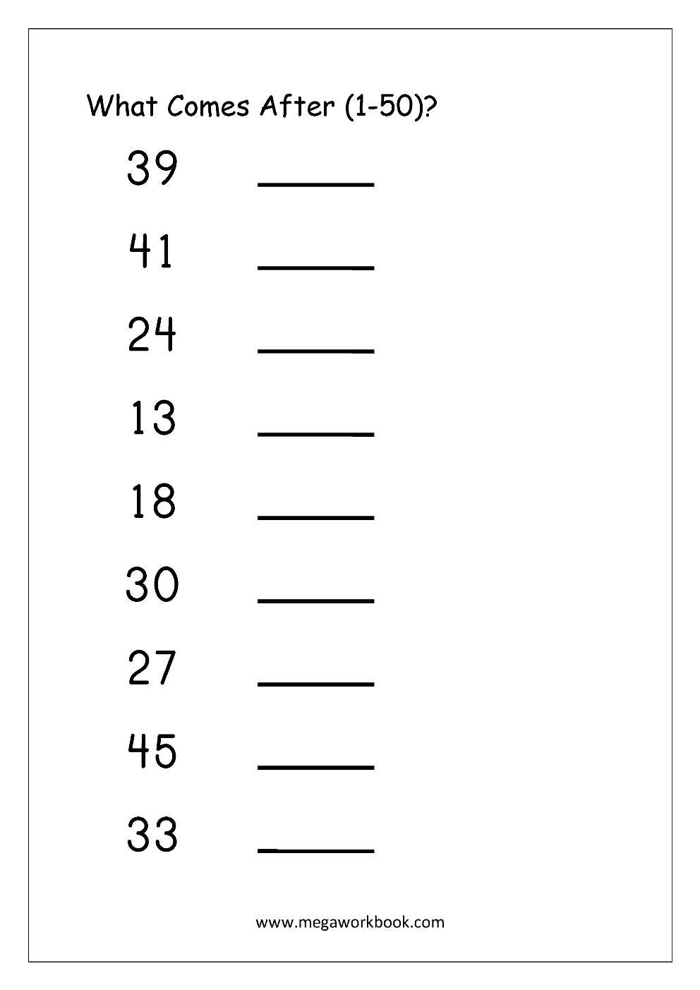 Free Printable Number Order Worksheets - Missing Numbers (1-10, 1-20 - Free Printable Tracing Numbers 1 50