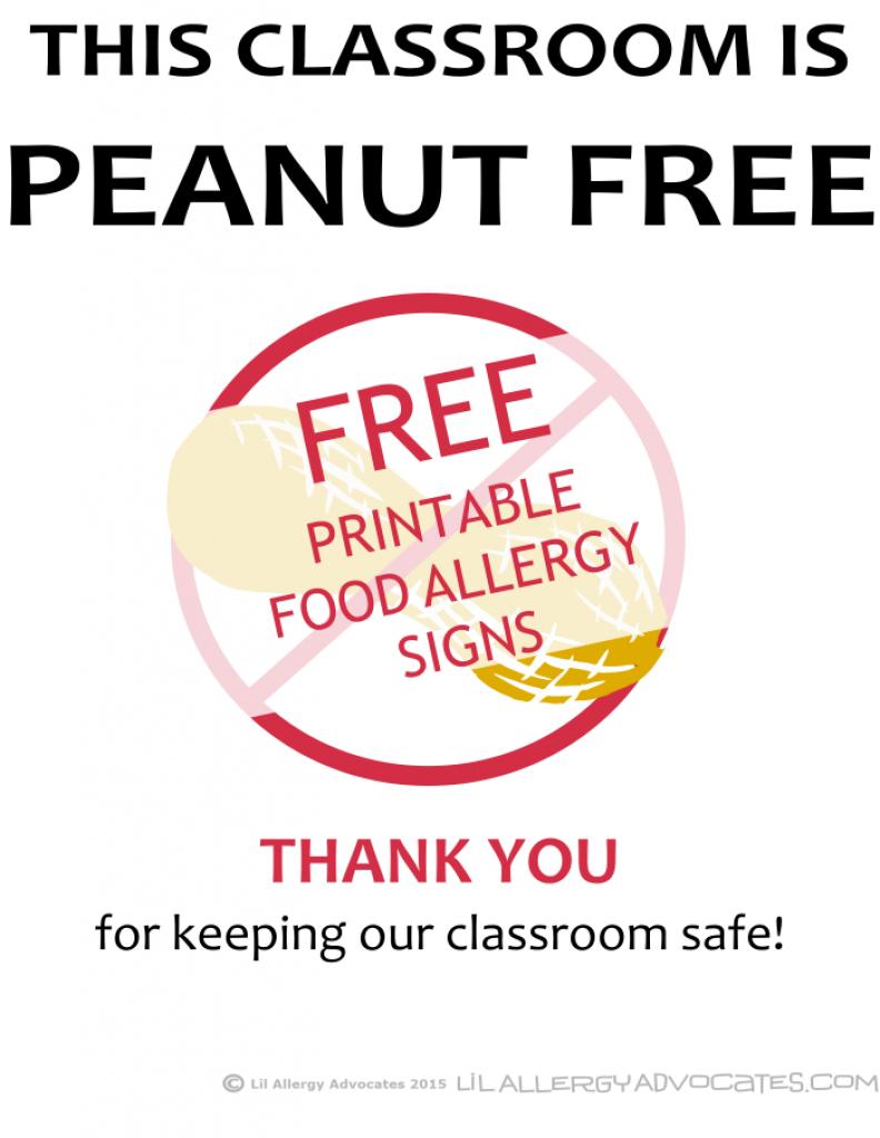 Free Printable Nut Free School Signs - Lil Allergy Advocates With - Printable Nut Free Signs