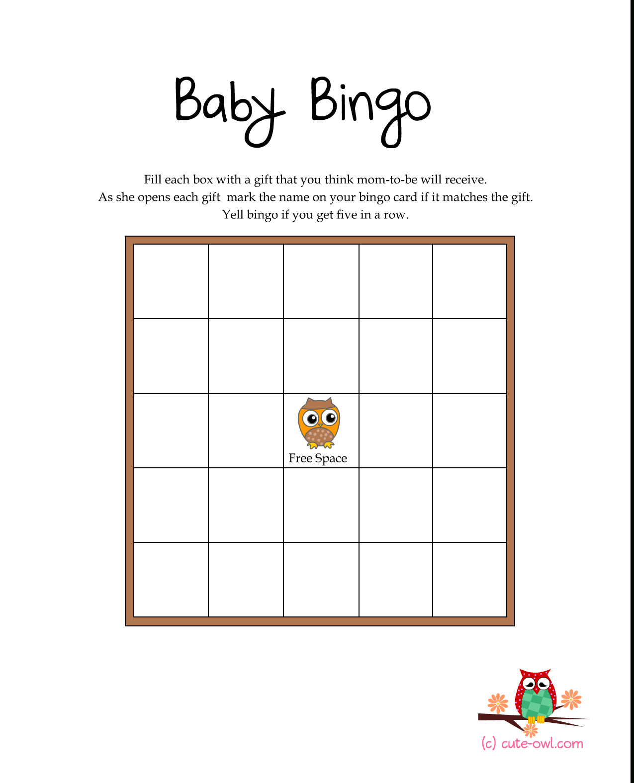 Free Printable Owl Themed Baby Shower Games   Woodland Animal Themed - Free Printable Baby Shower Bingo Cards
