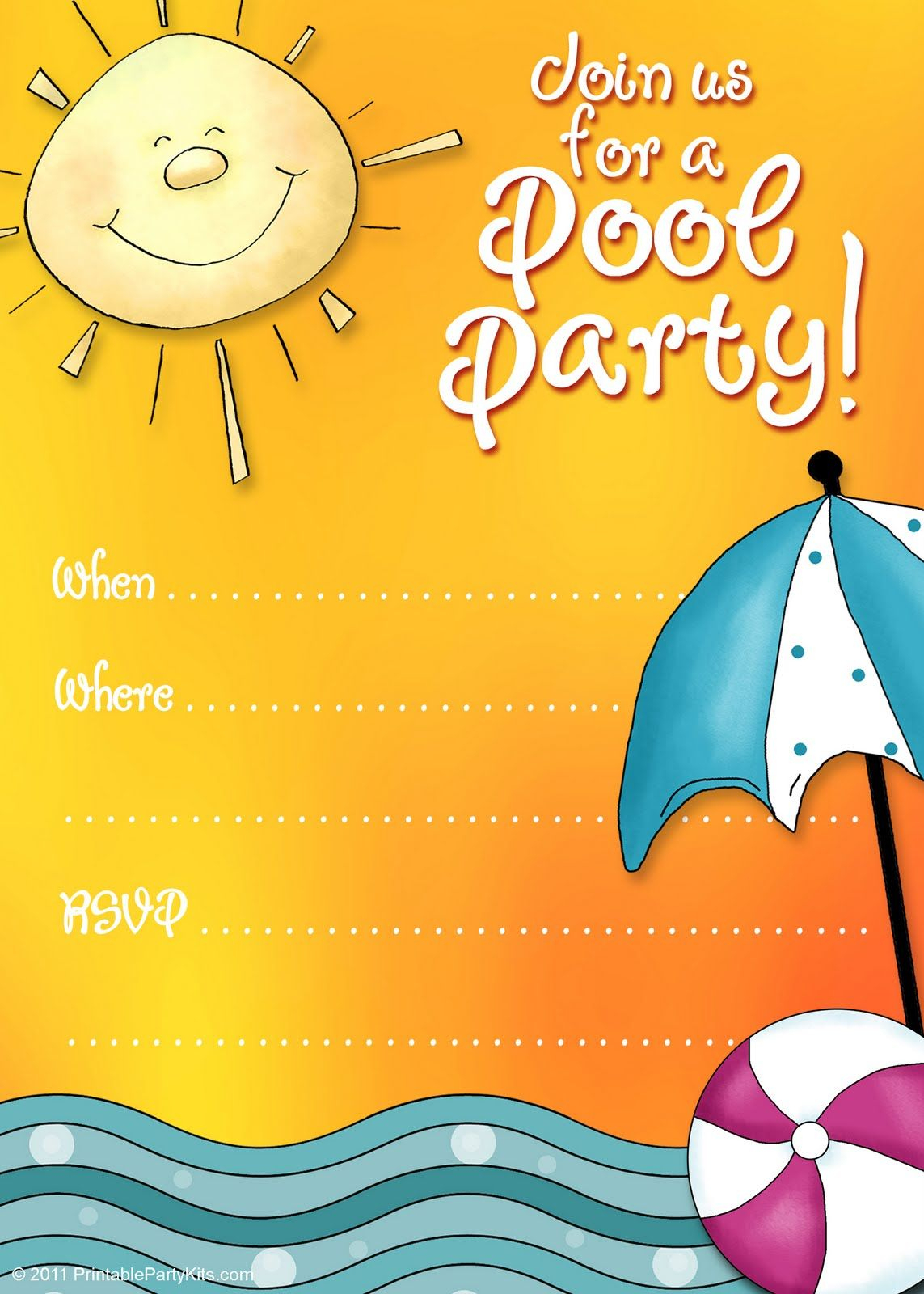 Free Printable Party Invitations: Summer Pool Party Invites - Free Printable Water Park Birthday Invitations