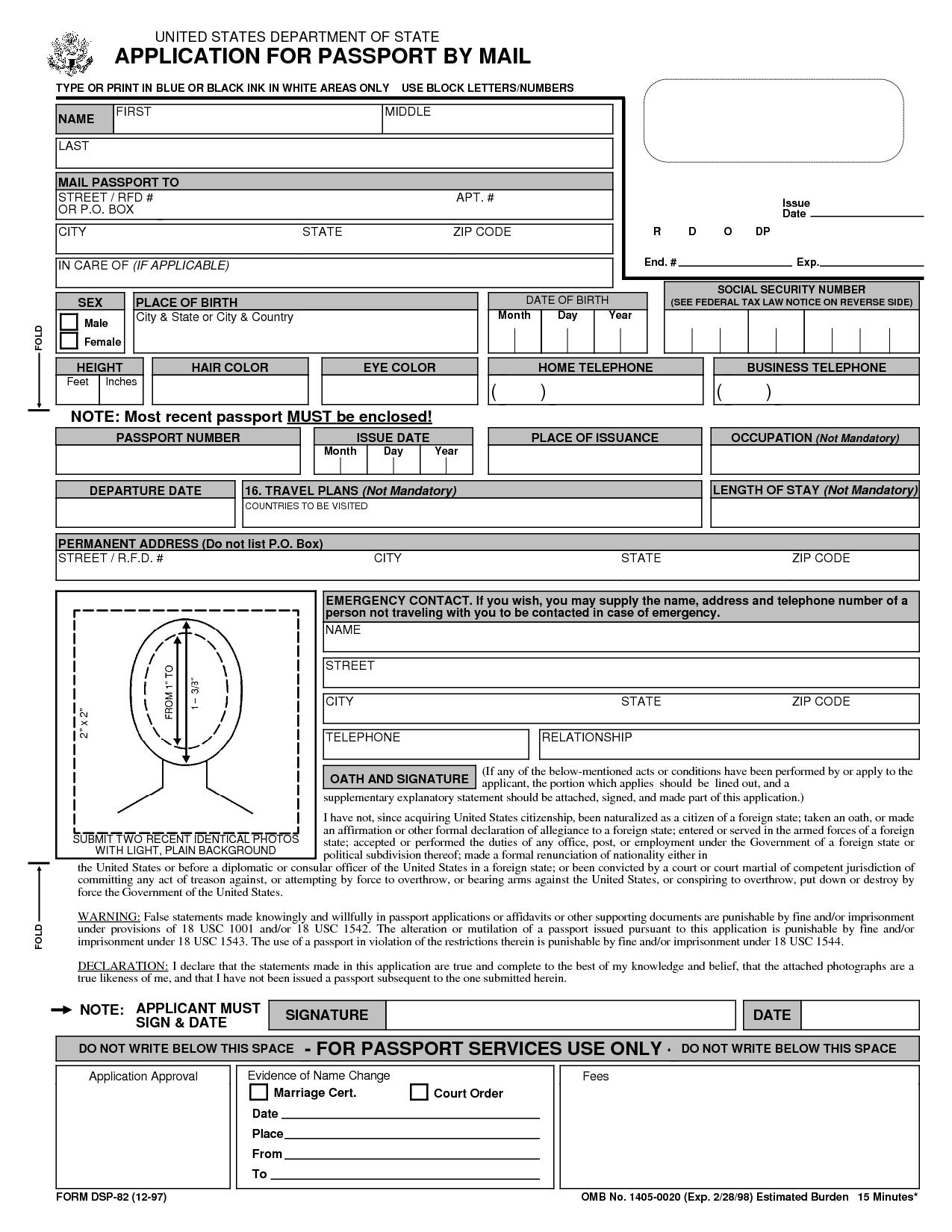 Free Printable Passport Application Form   Passport Renewal Form - Free Printable Passport Template