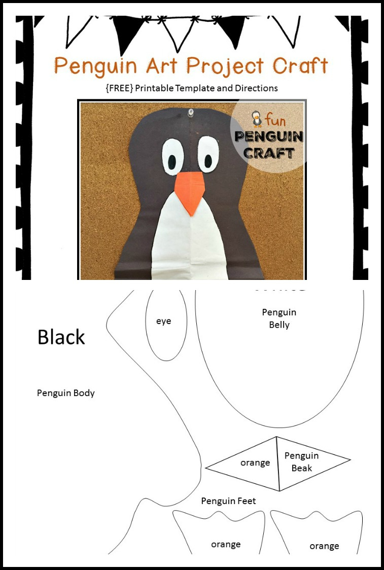 Free Printable Penguin Art Project Craft Template - Kindergarten Chaos - Free Printable Penguin Template