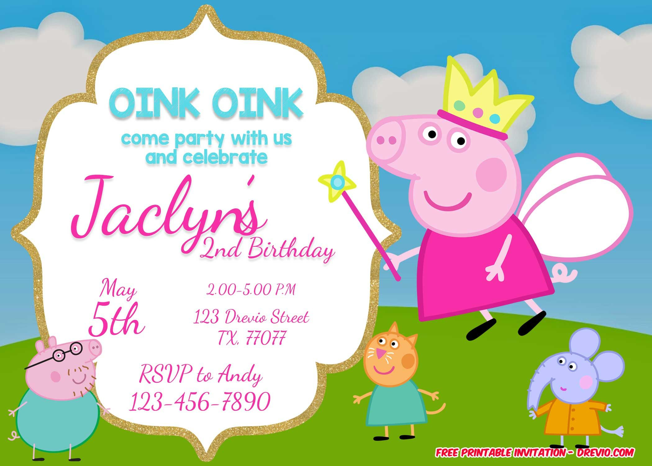 Free Printable Peppa Pig Invitation | Free Printable Birthday - Peppa Pig Character Free Printable Images