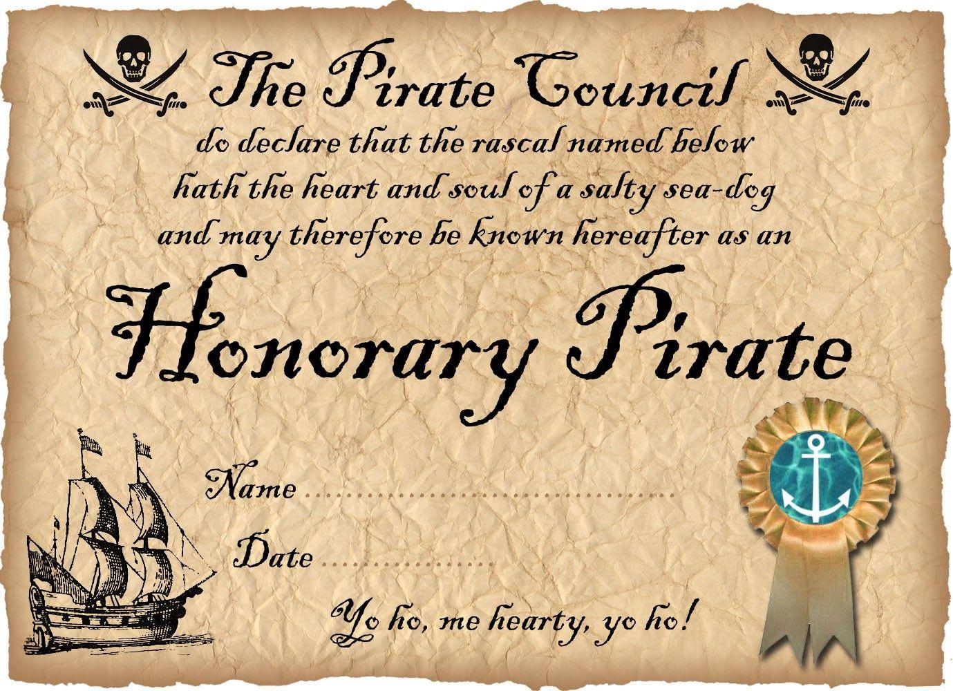 Free Printable Pirate Certificate: Honorary Pirate. Can Be - Free Printable Swimming Certificates For Kids