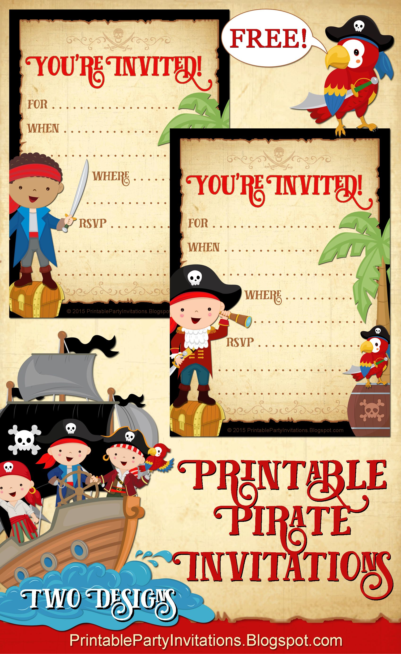Free Printable Pirate Party Invitations -- 2 Designs | Party - Blue's Clues Invitations Free Printable