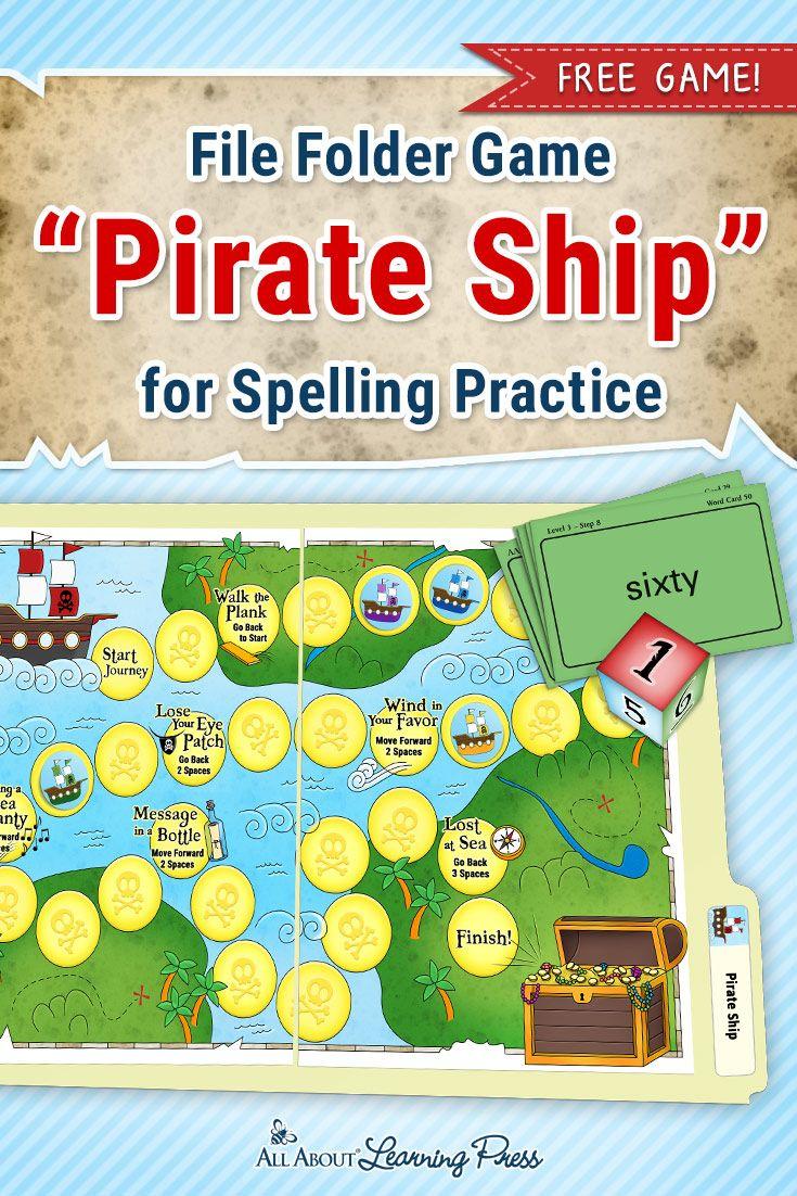 Free Printable Pirate-Themed File Folder Game To Practice Spelling - Free Printable File Folder Games