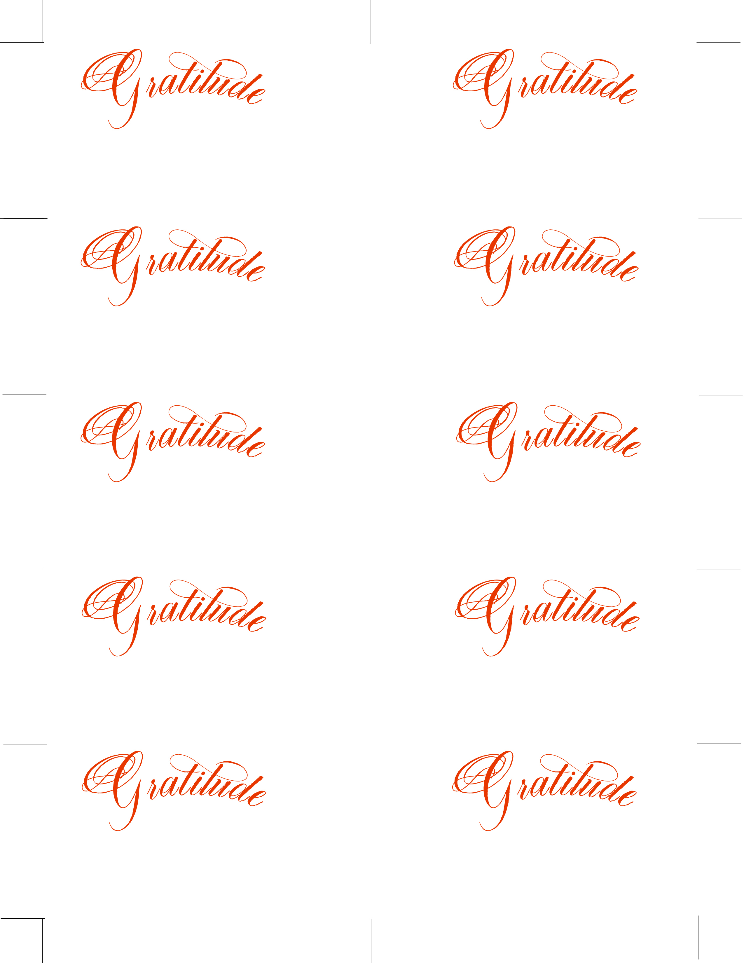 Free Printable Place Cards In Calligraphy Font: Gratitude - Free Printable Place Cards