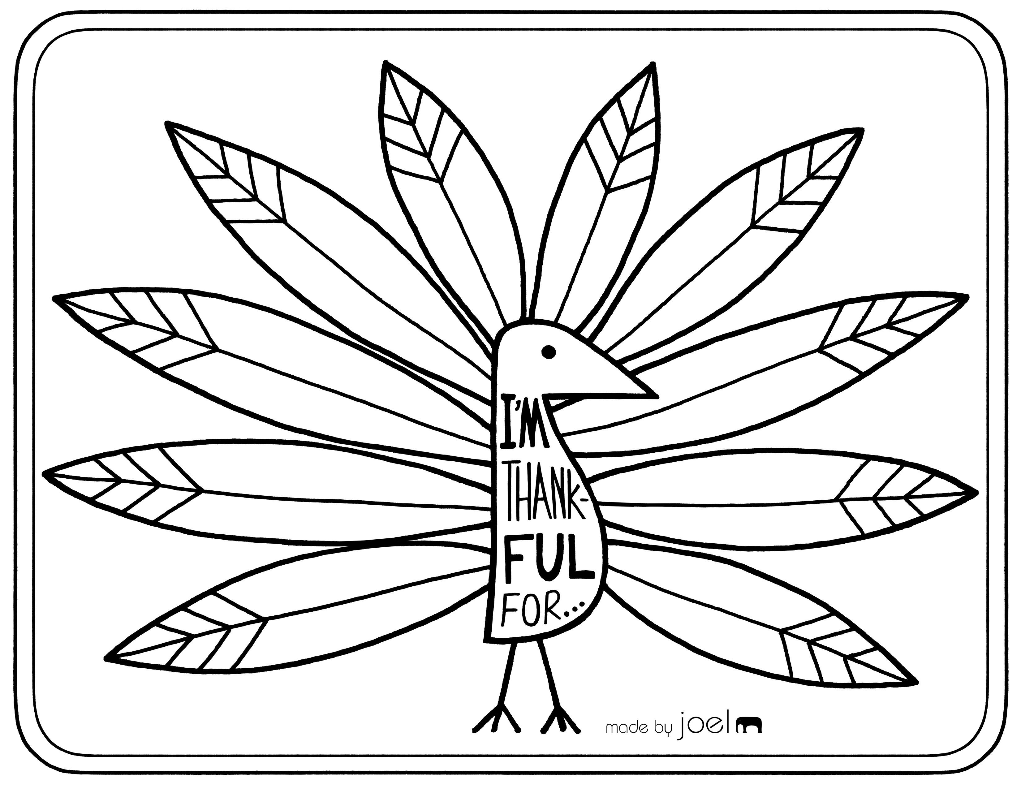 Free Printable Placemat For Giving Thanks | Fall Crafts & Ideas - Free Printable Thanksgiving Turkey Template