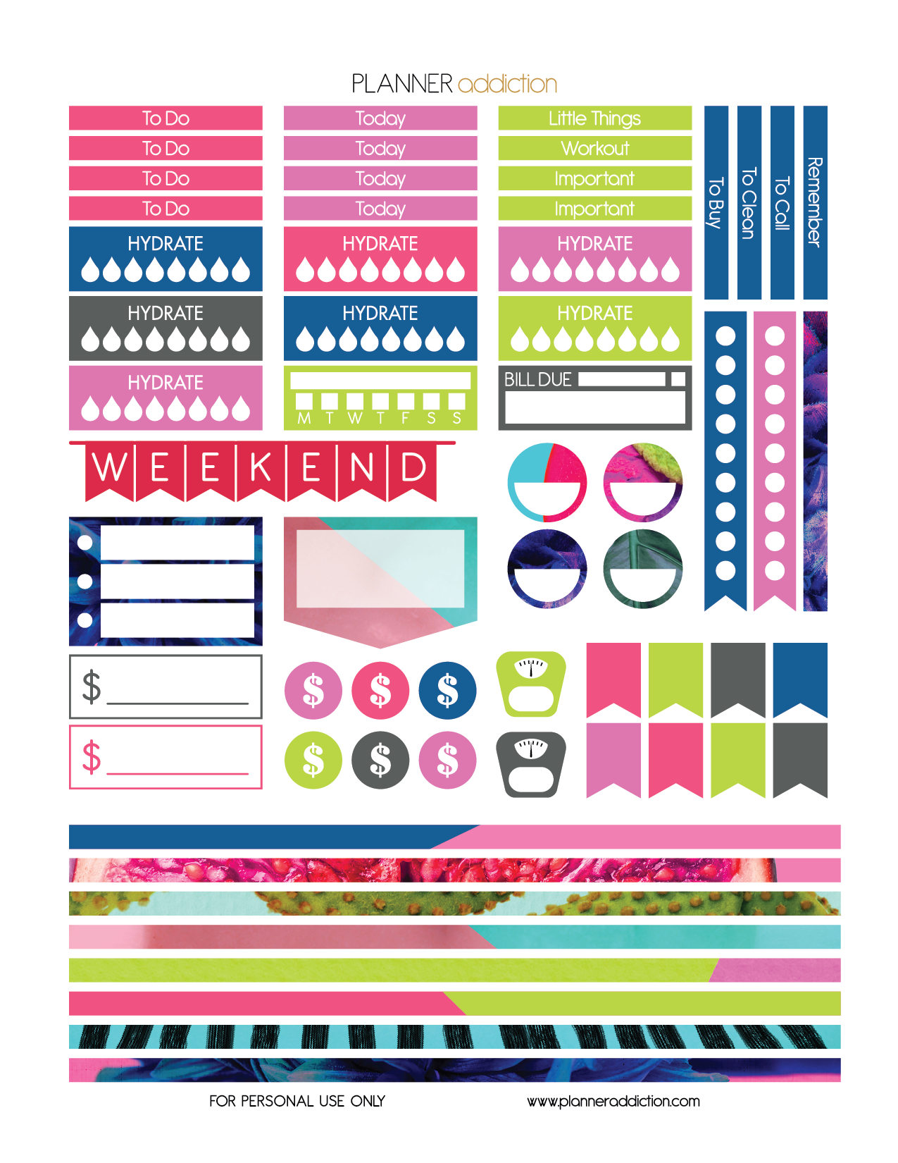 Free Printable Planner Stickers - Tropical Pop Art - Large Happy - Free Printable Planner Stickers Pdf