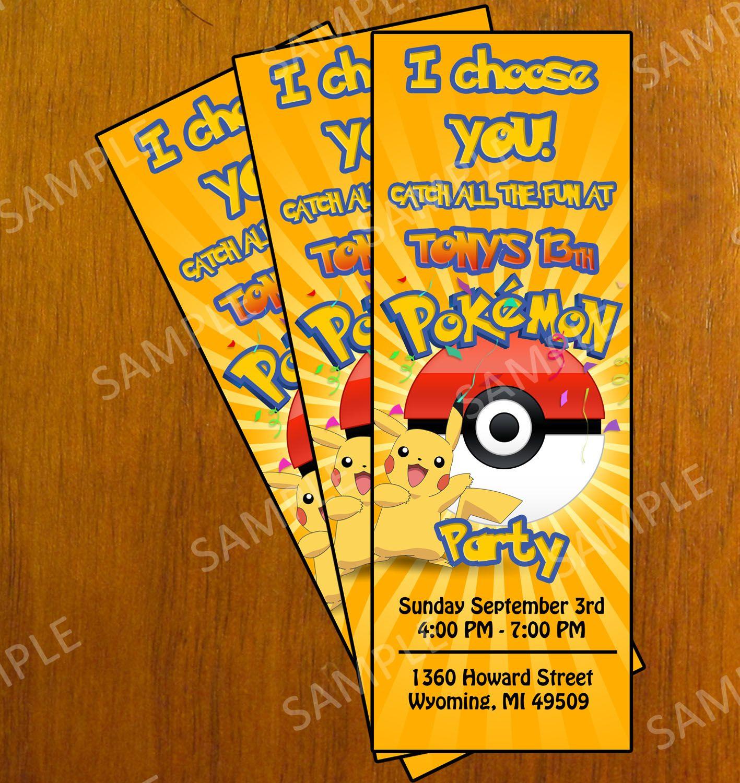 Free Printable Pokemon Invitation Cards | *{Elijah} ❤ | Pokemon - Pokemon Invitations Printable Free