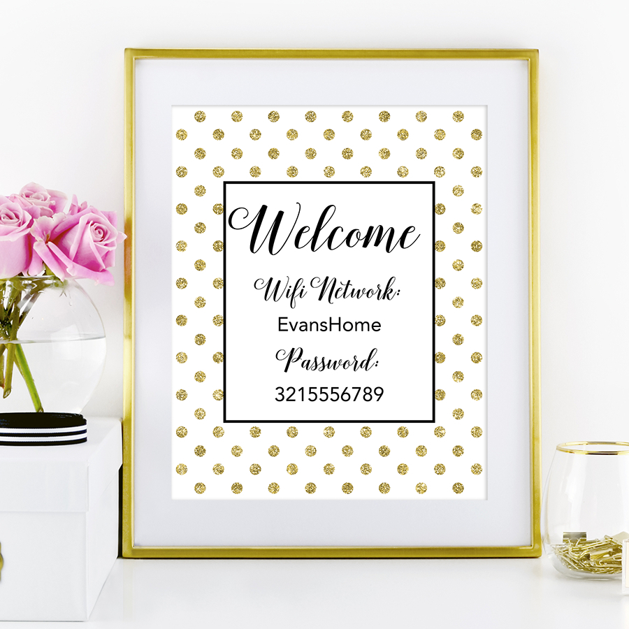 Free Printable Polka Dot Wifi Password Sign | Lieux À Visiter - Free Printable Wifi Sign