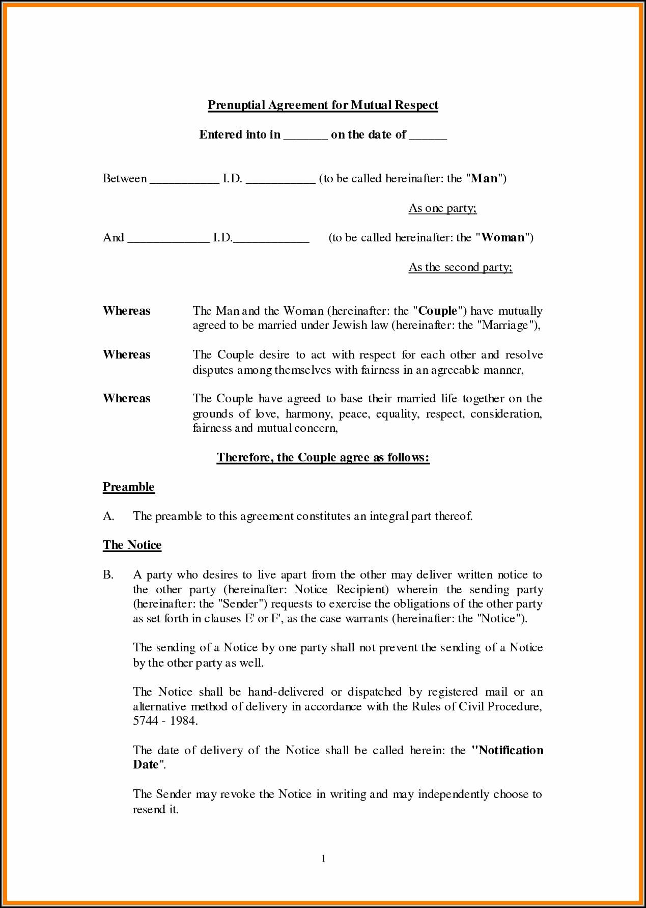Free Printable Prenuptial Agreement Form - Form : Resume Examples - Free Printable Prenuptial Agreement Form