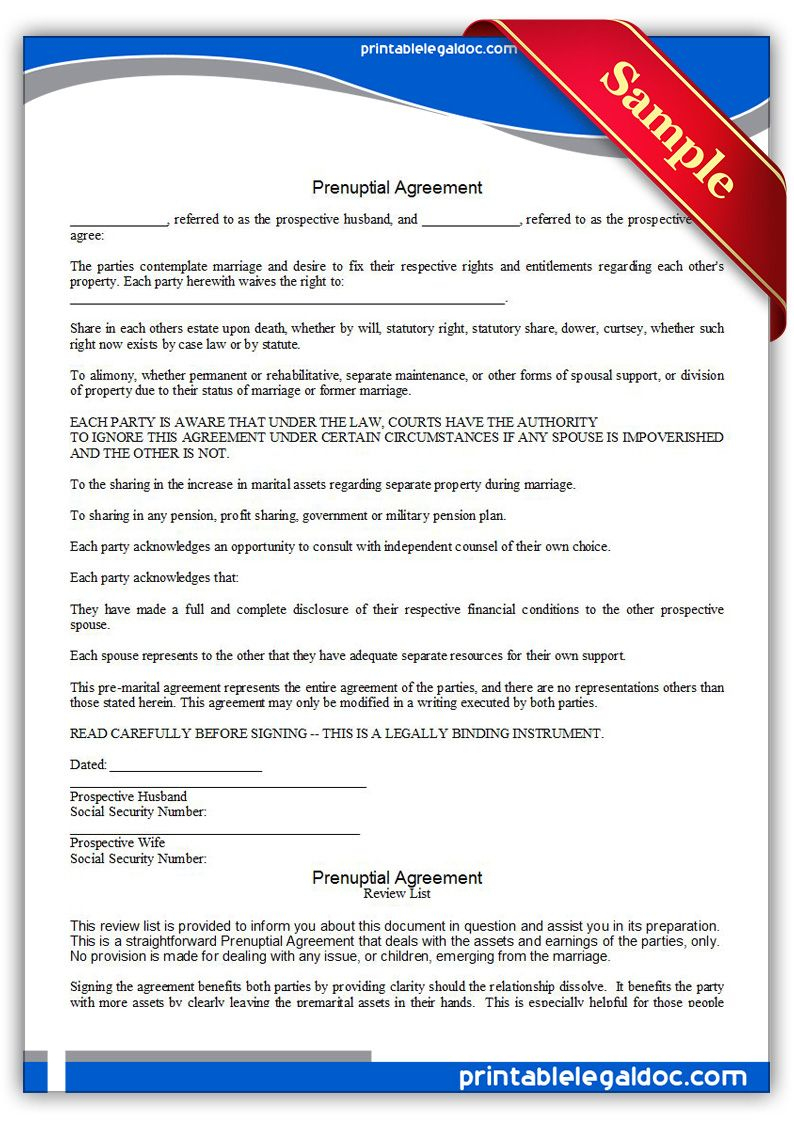 Free Printable Prenuptial Agreement Legal Forms | Free Legal Forms - Free Printable Prenuptial Agreement Form