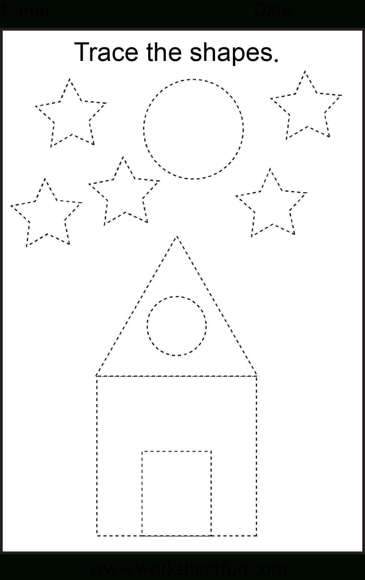 Free Printable Preschool Worksheets - This One Is Trace The Shapes - Free Printable Preschool Worksheets