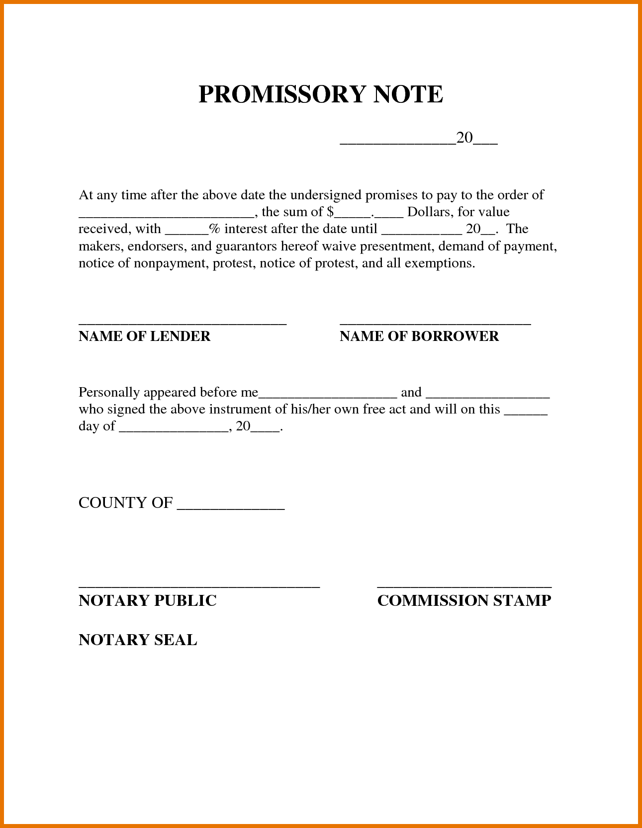 Free Printable Promissory Note Template : Violeet - Free Printable Promissory Note