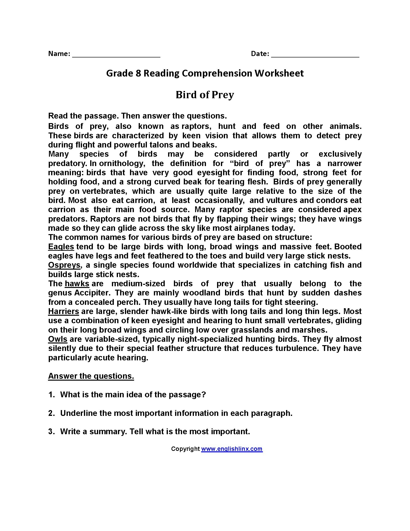 Free Printable Reading Comprehension Worksheets 3Rd Grade For - Free Printable Reading Comprehension Worksheets For 3Rd Grade