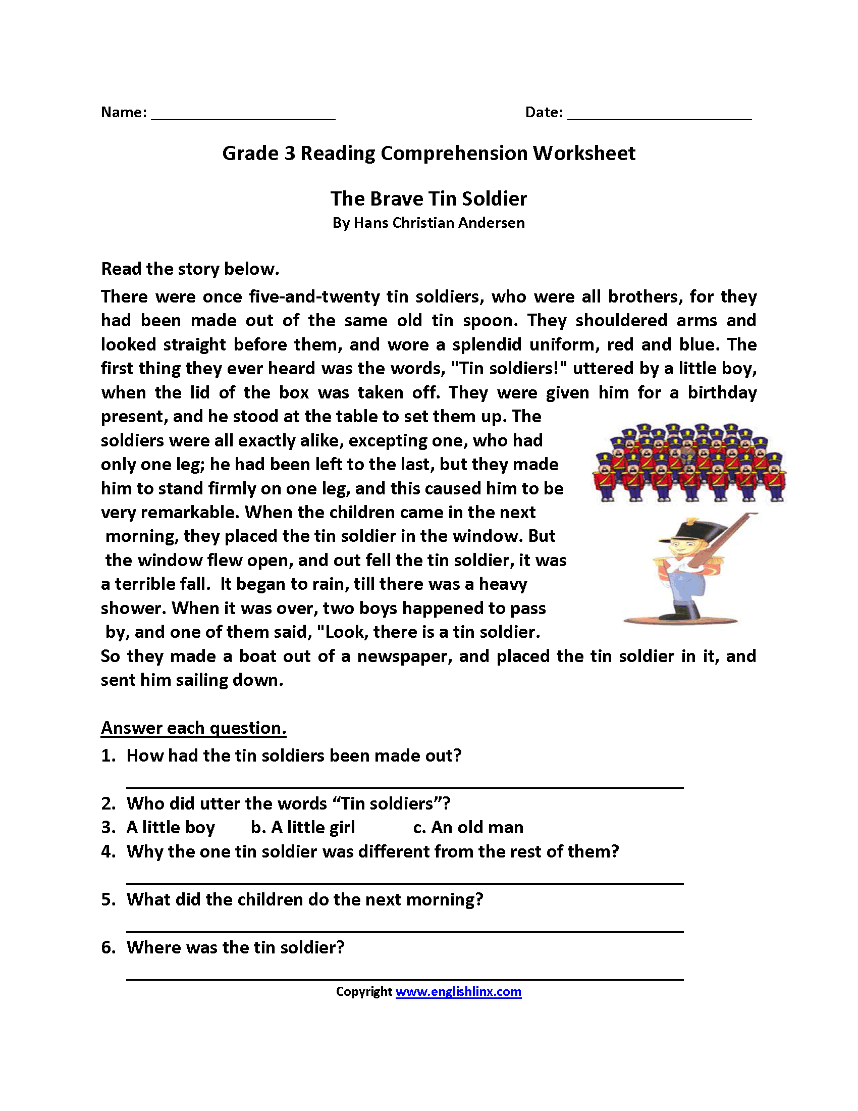 Free Printable Reading Comprehension Worksheets 3Rd Grade For Free - Third Grade Reading Worksheets Free Printable