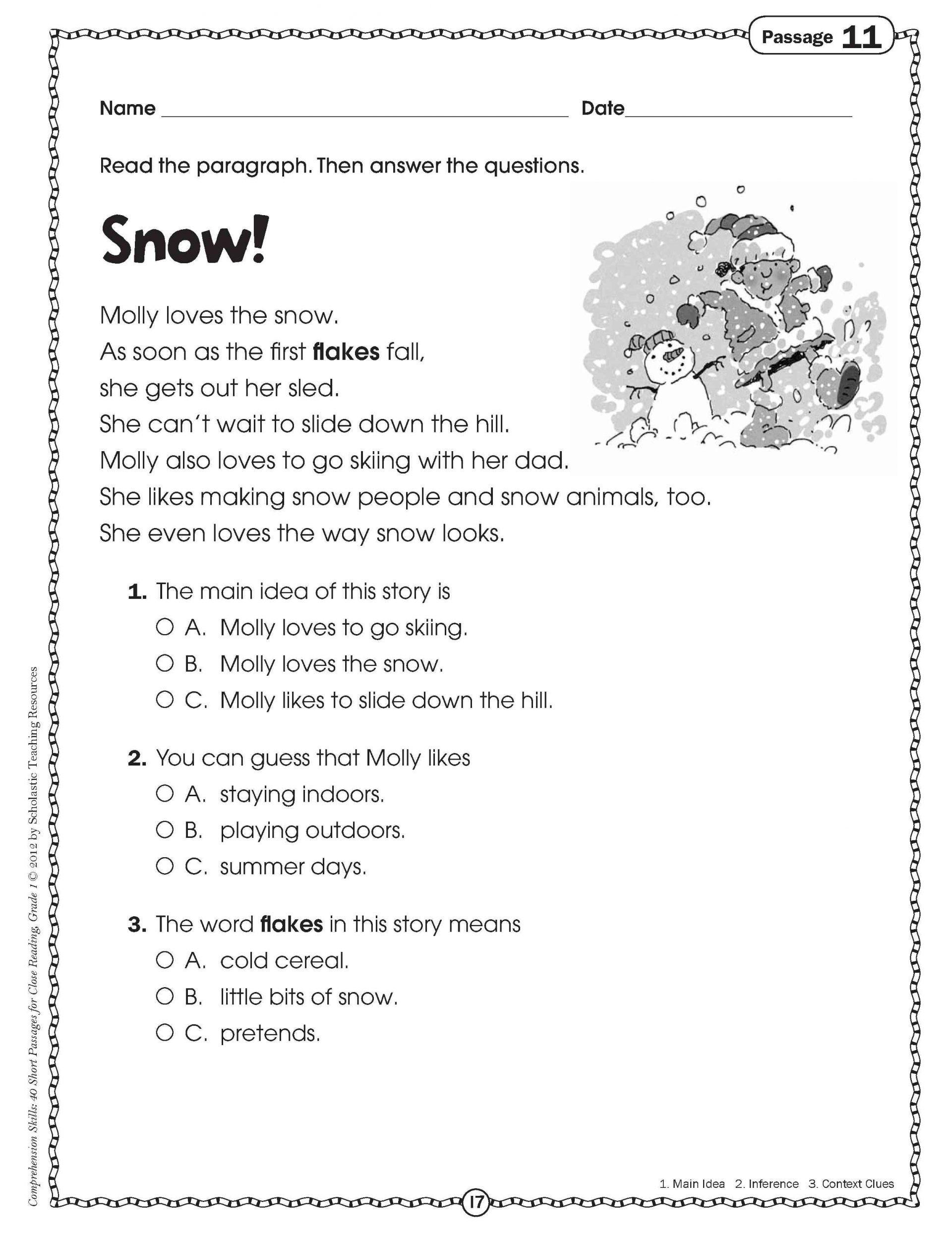 Free Printable Reading Comprehension Worksheets 3Rd Grade To - Free Printable Grade 1 Reading Comprehension Worksheets