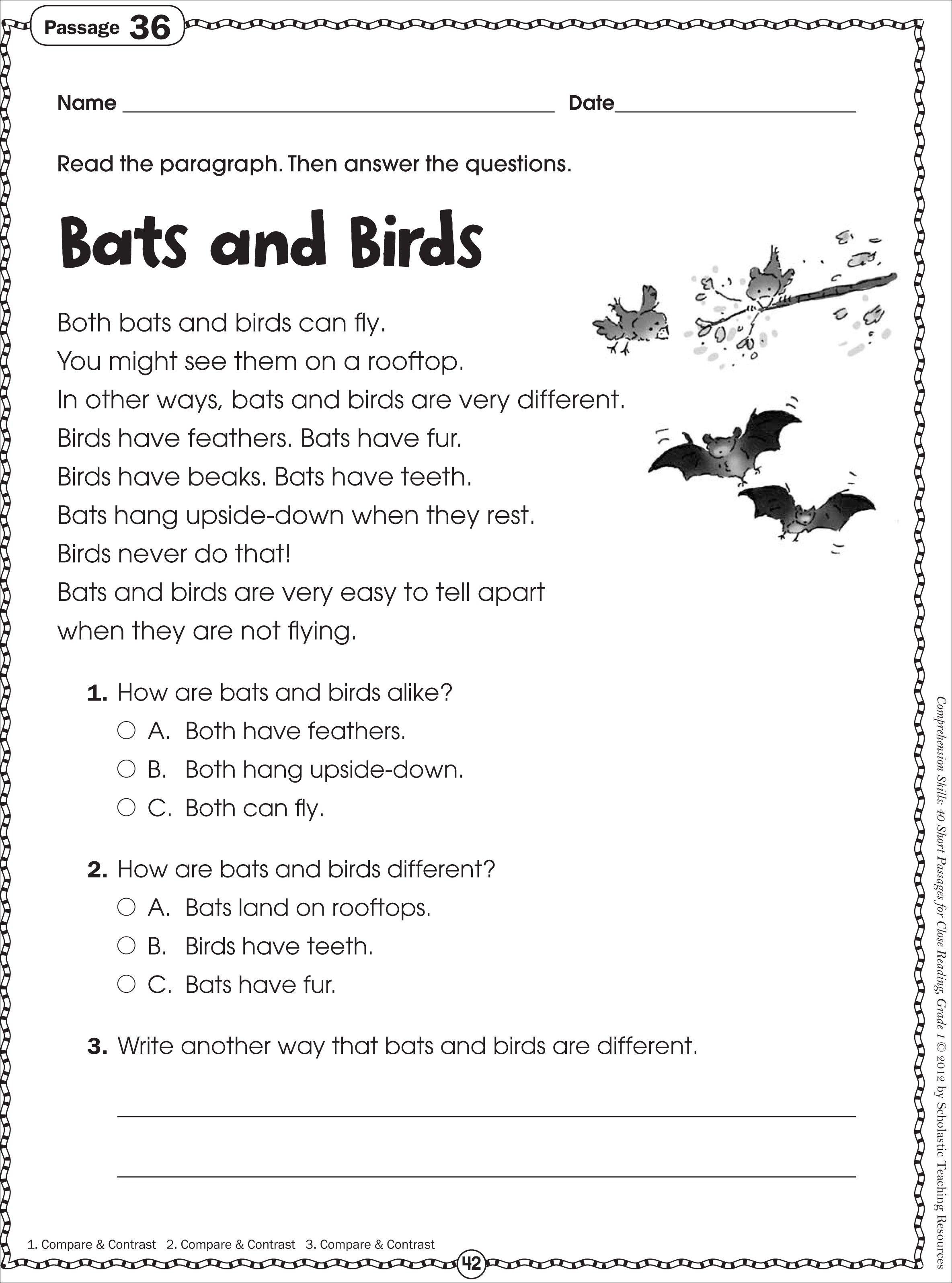 Free Printable Reading Comprehension Worksheets For Kindergarten - Free Printable Grade 1 Reading Comprehension Worksheets