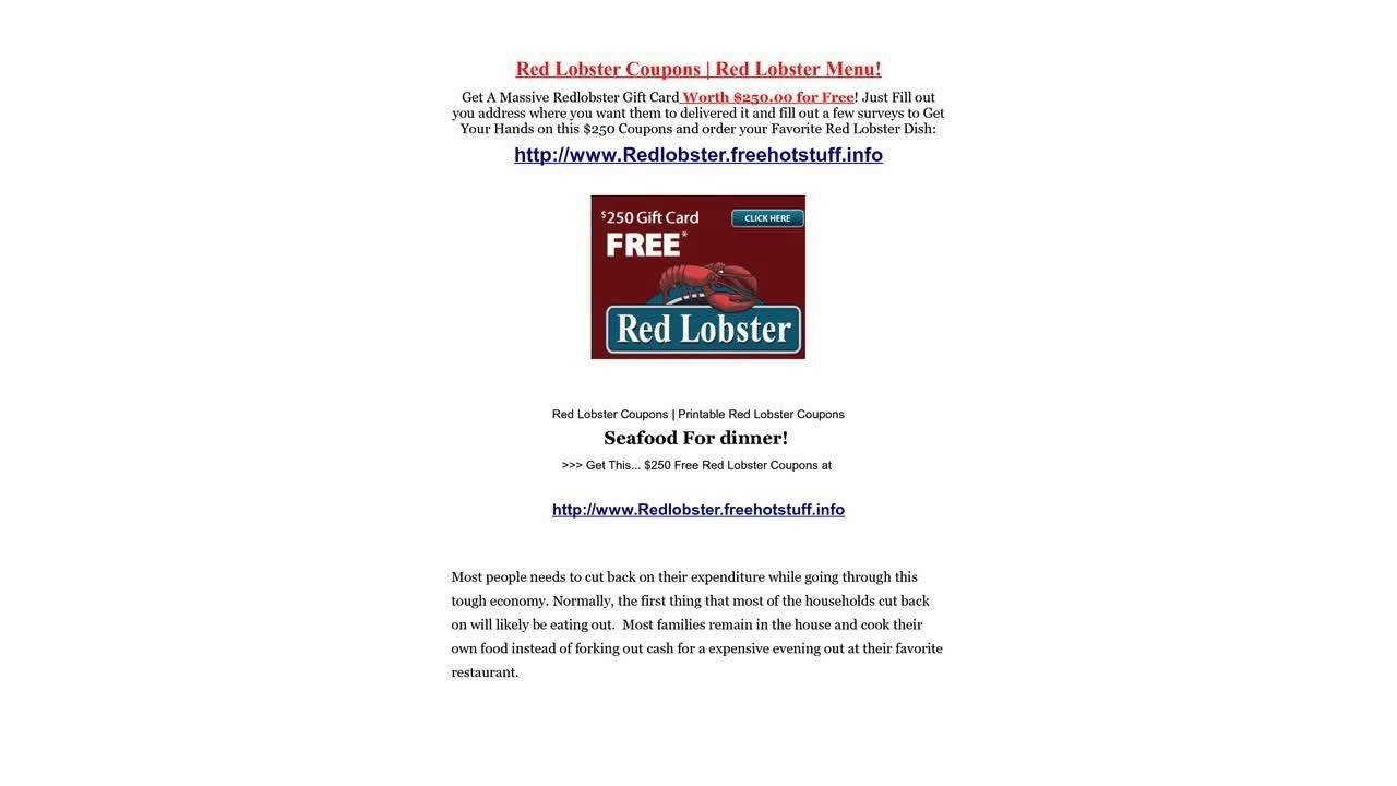 Free Printable Redlobster Coupon Updated Available - Youtube - Free Printable Red Lobster Coupons