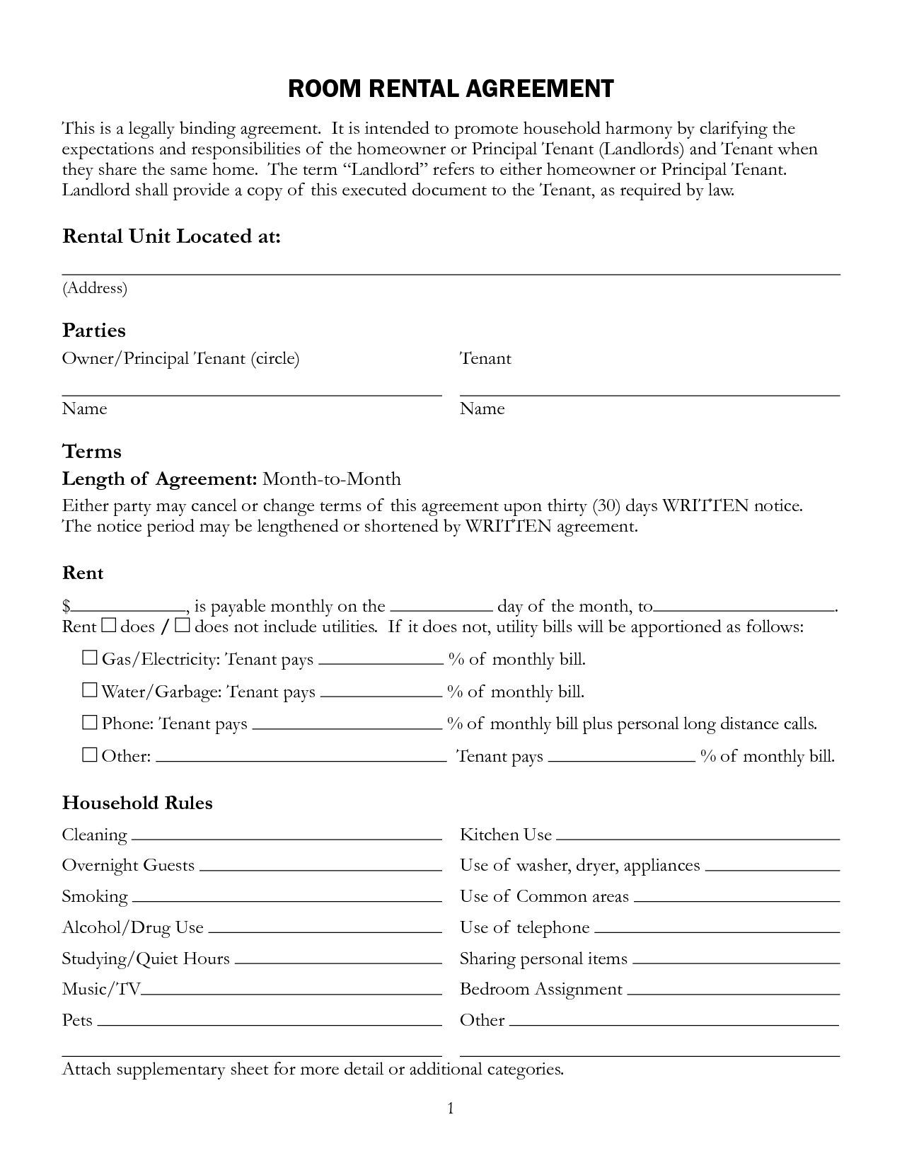 Free Printable Rental Lease Agreement Form Template | Bagnas - Free Printable Rental Lease Agreement