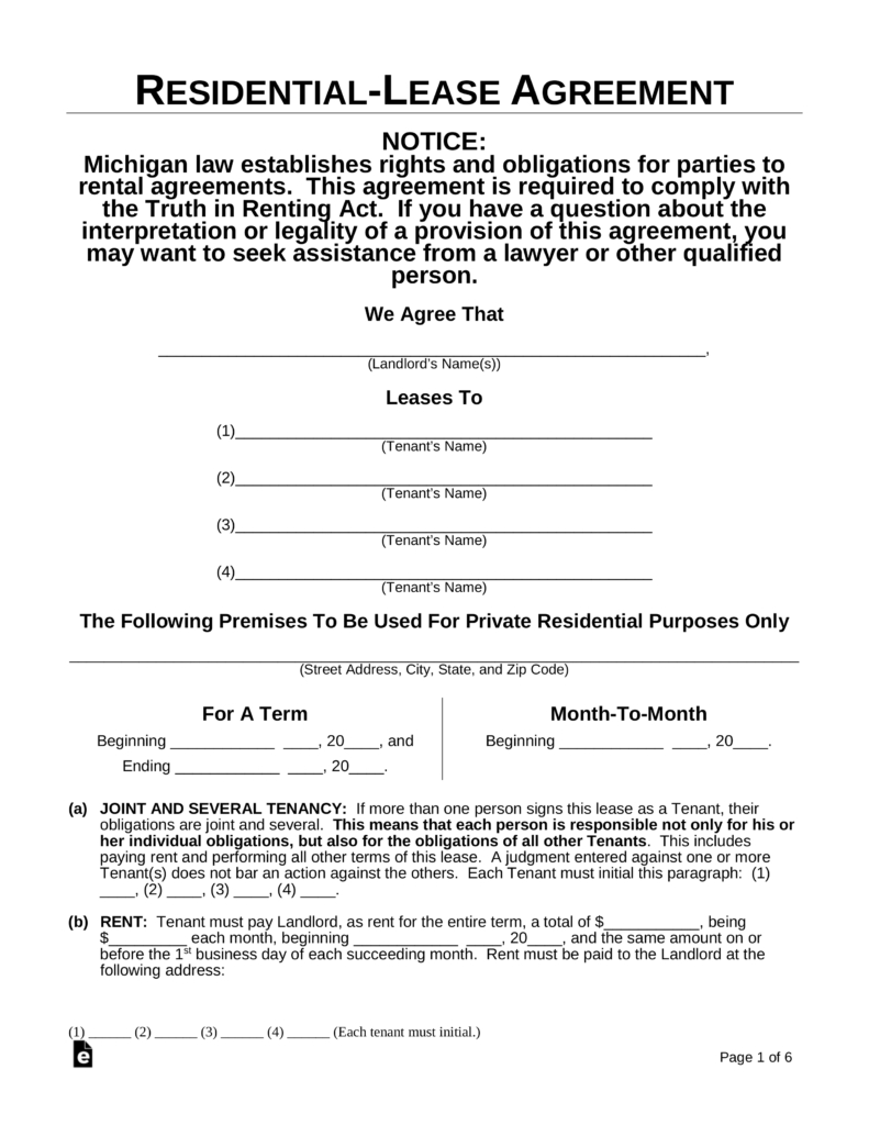 Free Printable Residential Lease Agreement Mi - 2.13.kaartenstemp.nl • - Blank Lease Agreement Free Printable