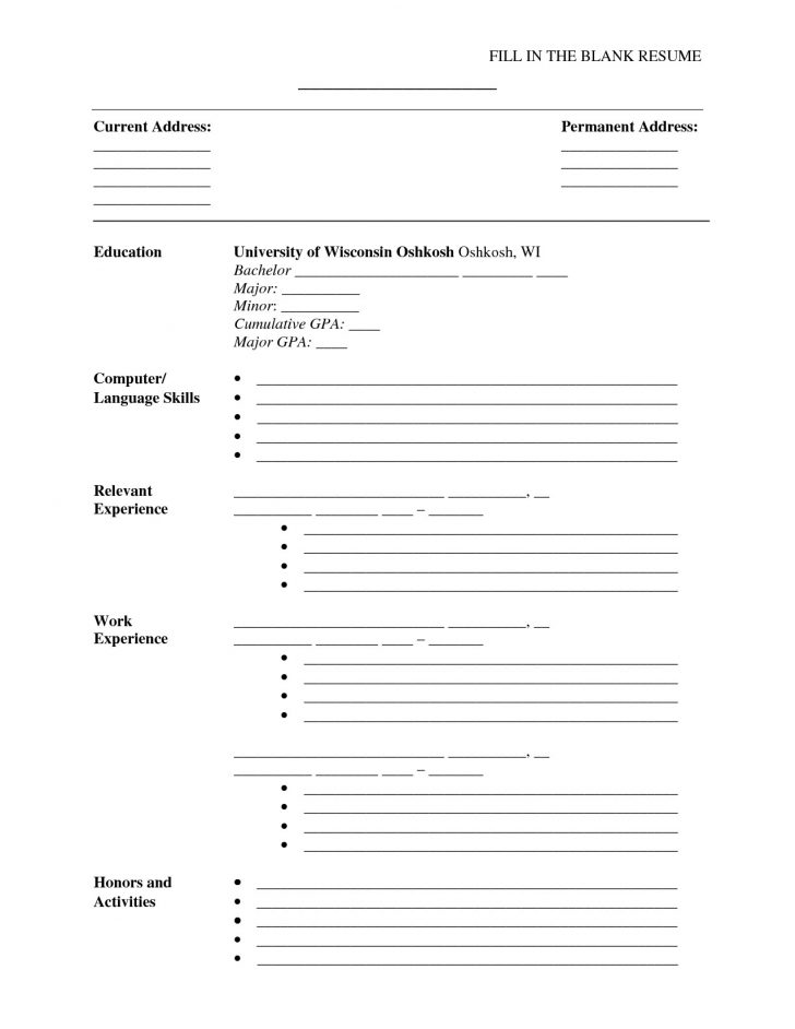 Free Printable Resume Builder