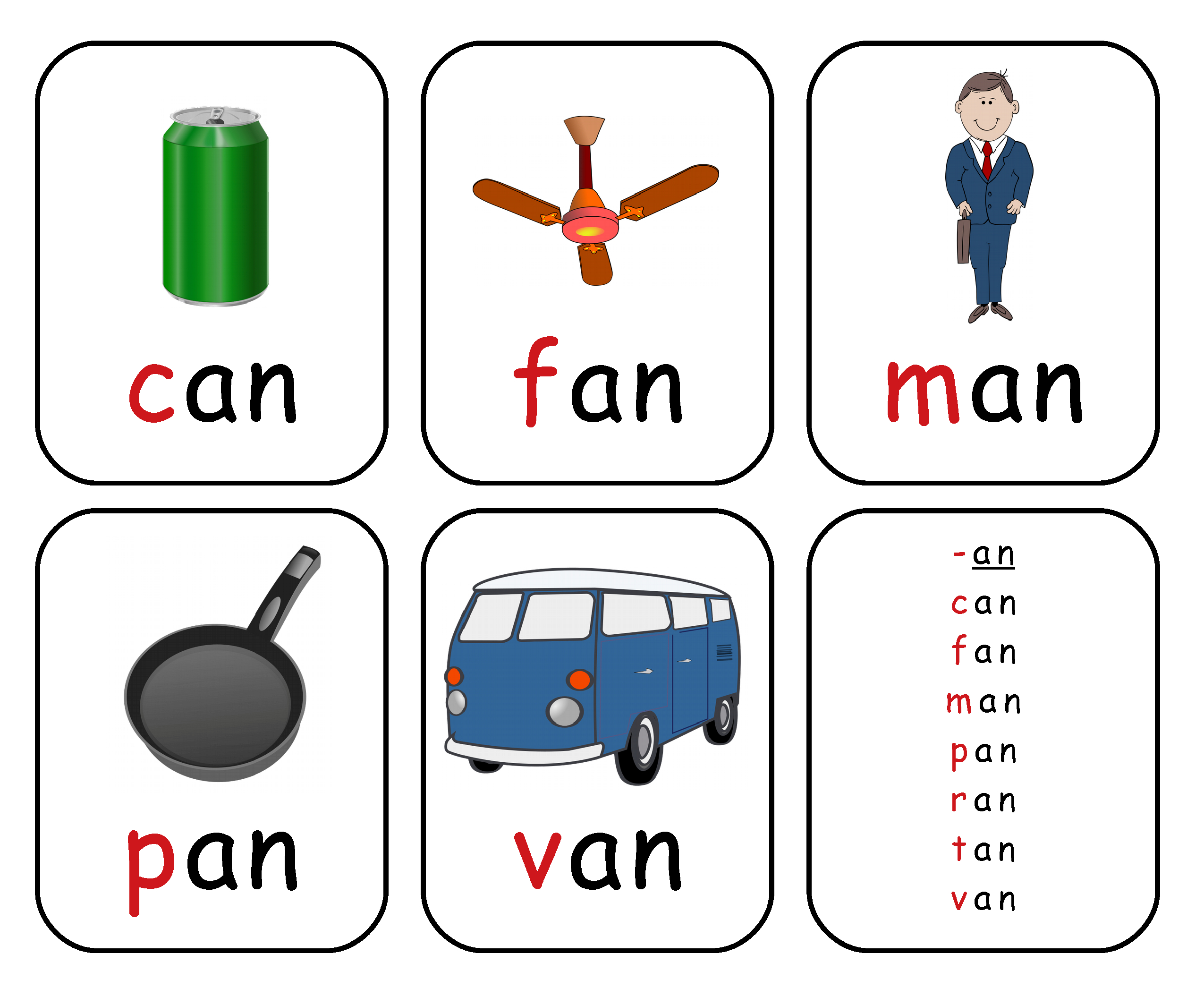 Free Printable Rhyming Words Flash Cards '-An' | Free Printable For - Free Printable Rhyming Words Flash Cards