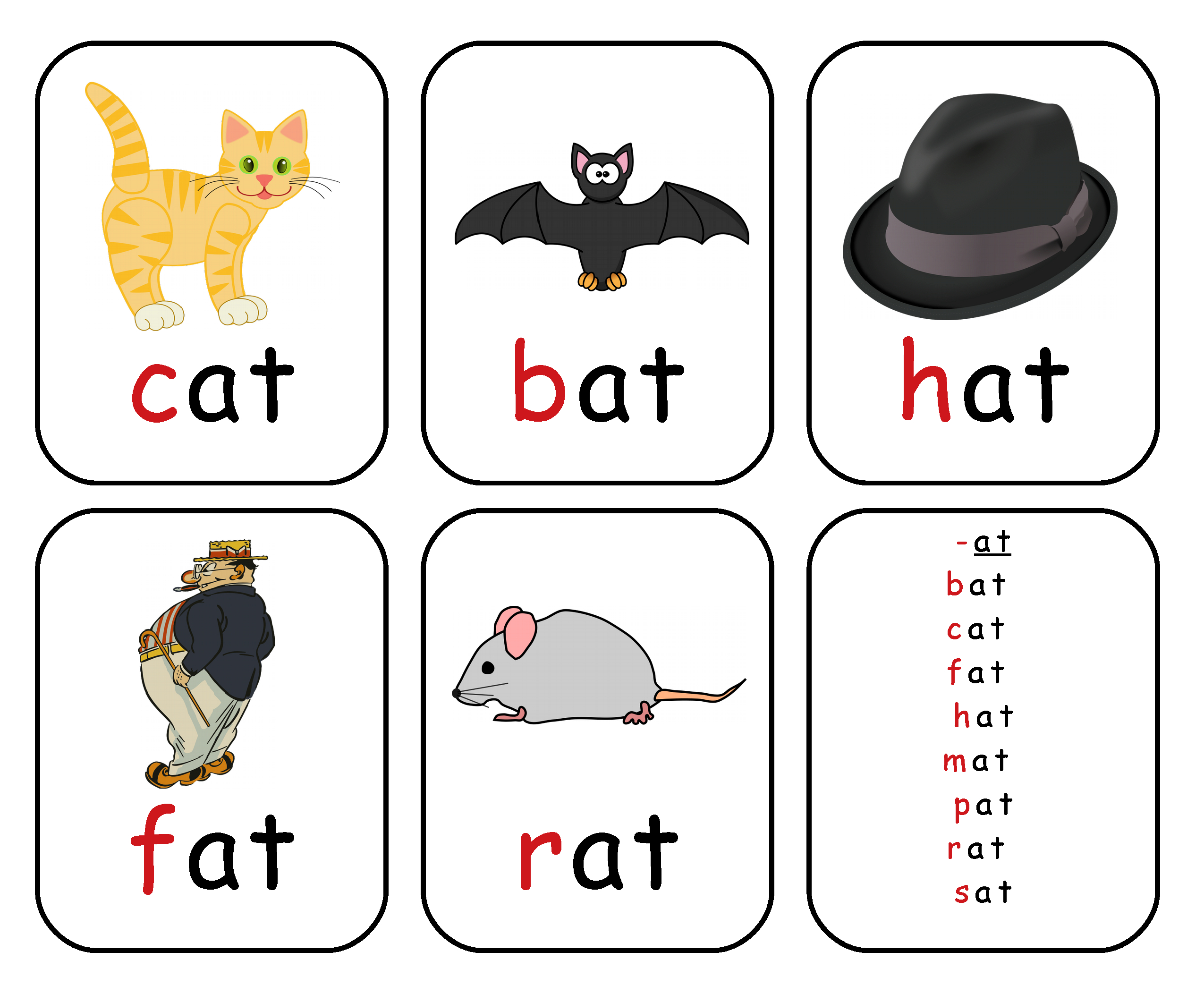 Free Printable Rhyming Words Flash Cards '-At' | Free Printable For - Free Printable Rhyming Words Flash Cards