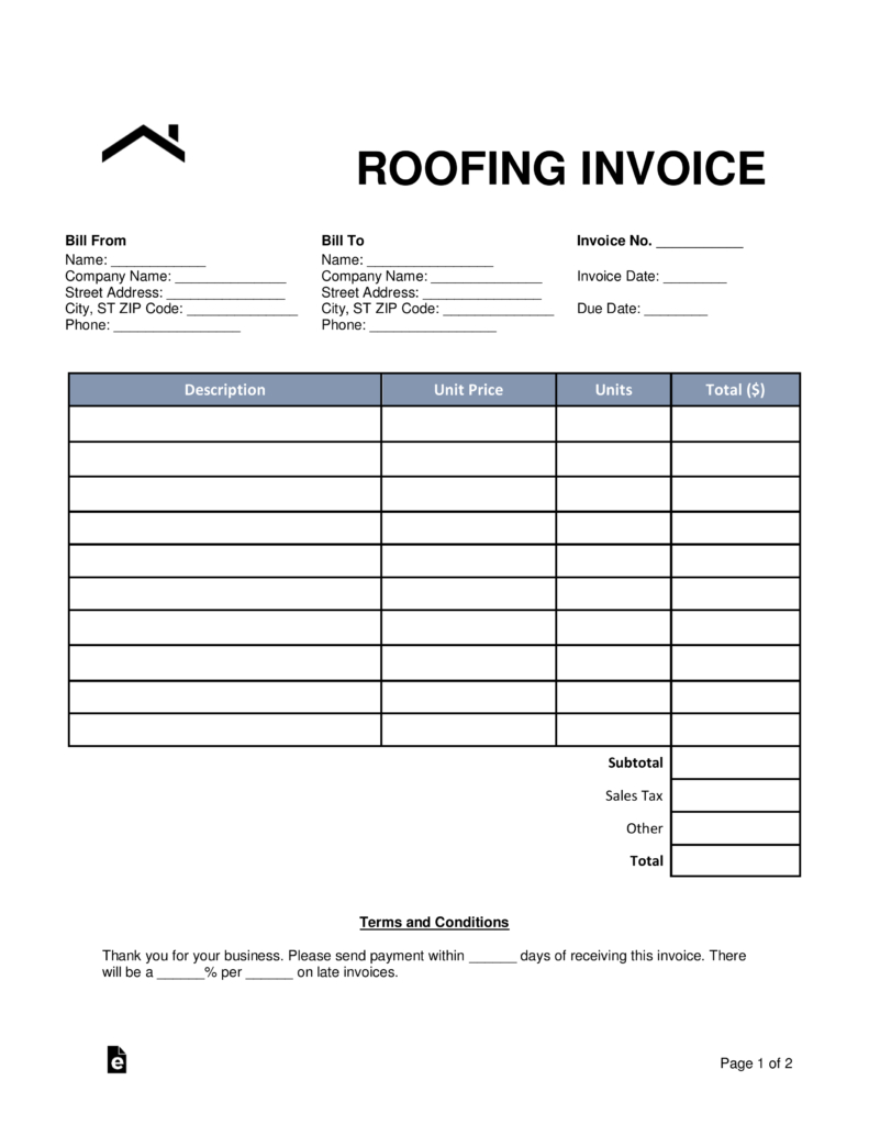 Free Printable Roofing Invoice Form - 15.10.hus-Noorderpad.de • - Free Bill Invoice Template Printable