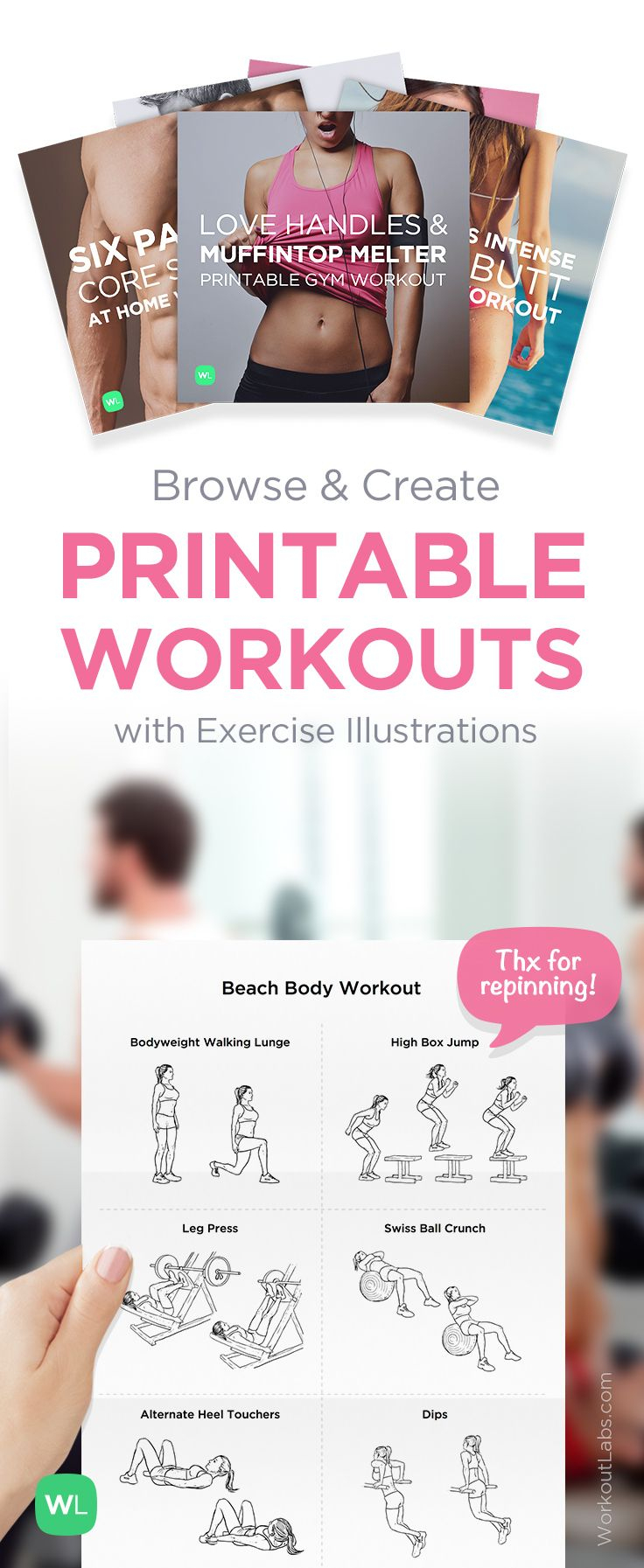 Free Printable Routines, Workout Packs And Exercise Programs - Free Printable Gym Workout Routines
