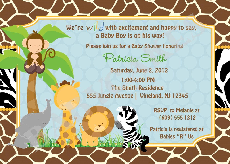 Free Printable Safari Baby Shower Invitations Safari Ba Shower - Jungle Theme Birthday Invitations Free Printable