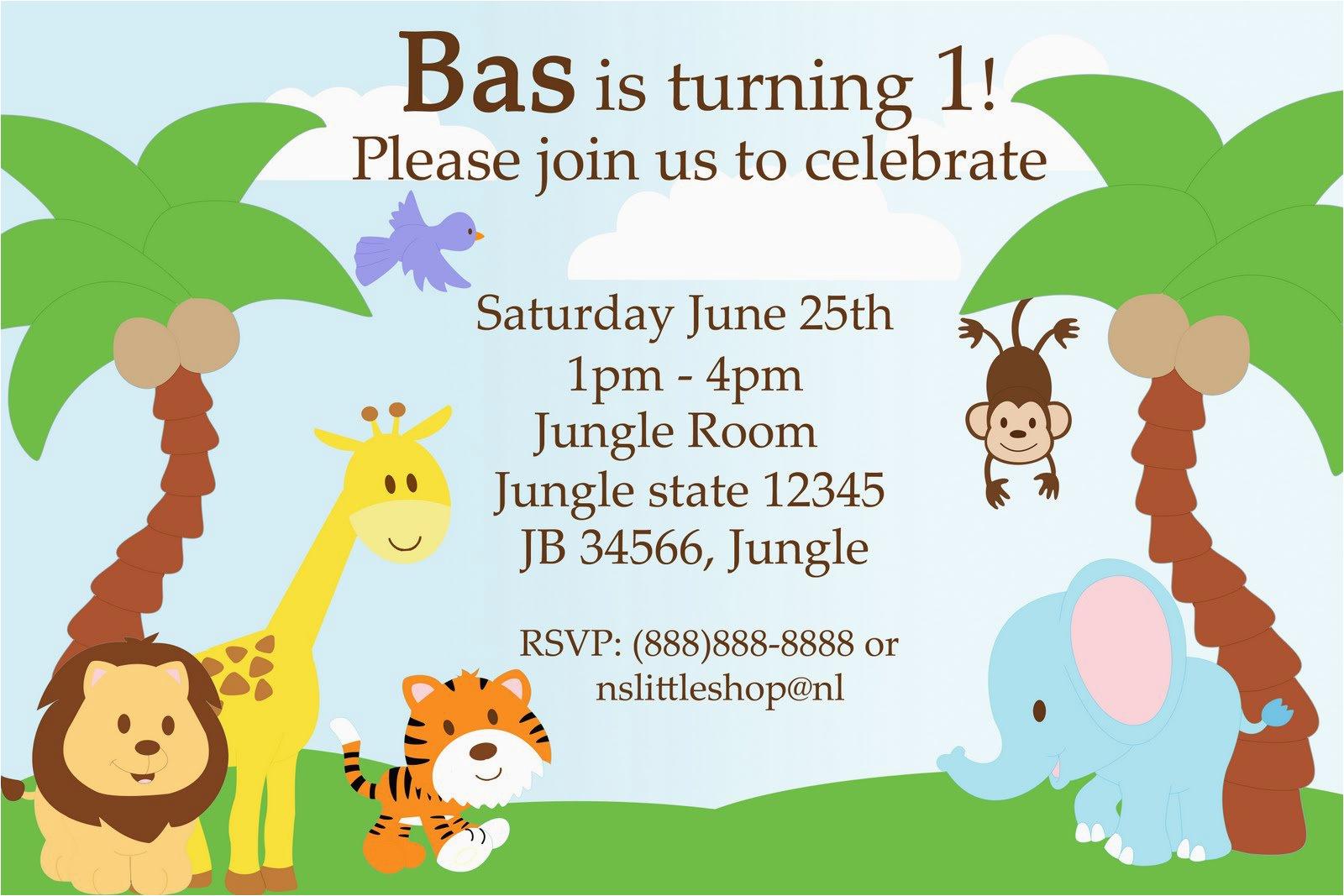 Free Printable Safari Birthday Invitations Jungle Theme Birthday - Jungle Theme Birthday Invitations Free Printable