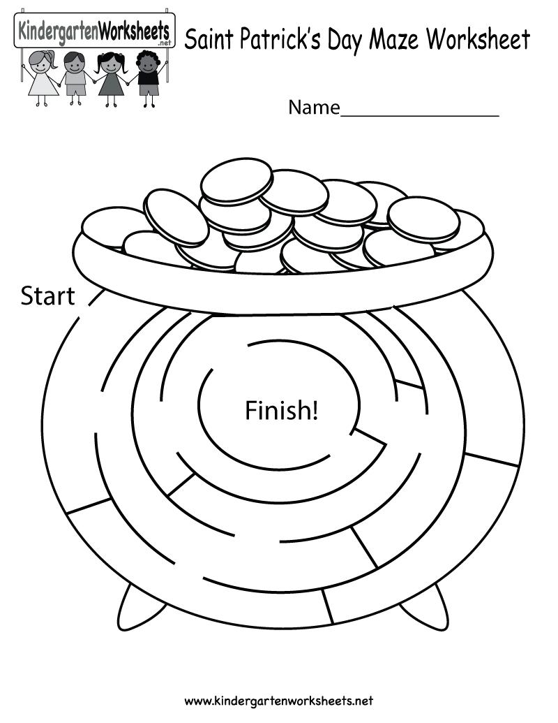 Free Printable Saint Patrick's Day Maze Worksheet For Kindergarten - Free Printable St Patrick's Day Mazes