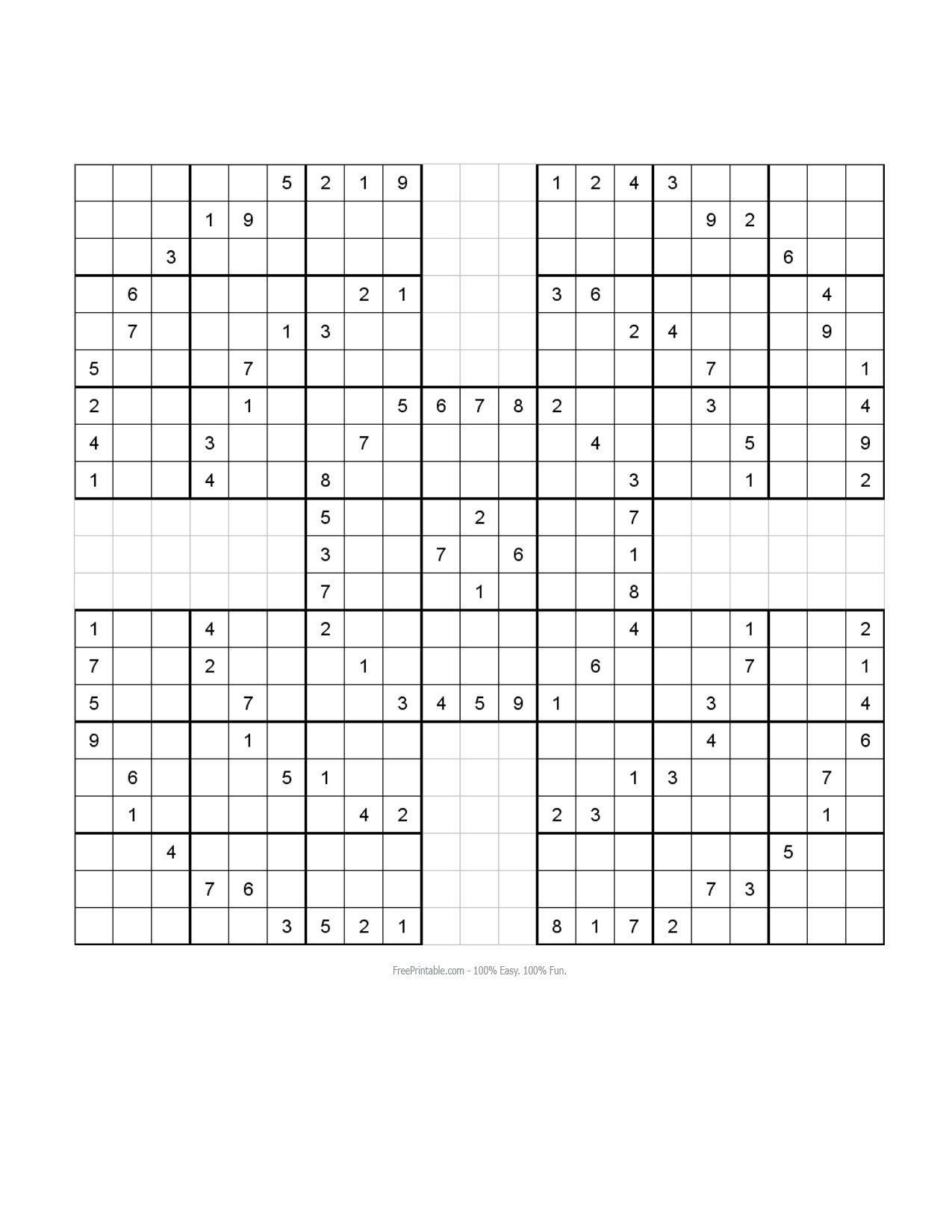 Free Printable Samurai Sudoku Puzzles | Sudoku - Free Printable Samurai Sudoku