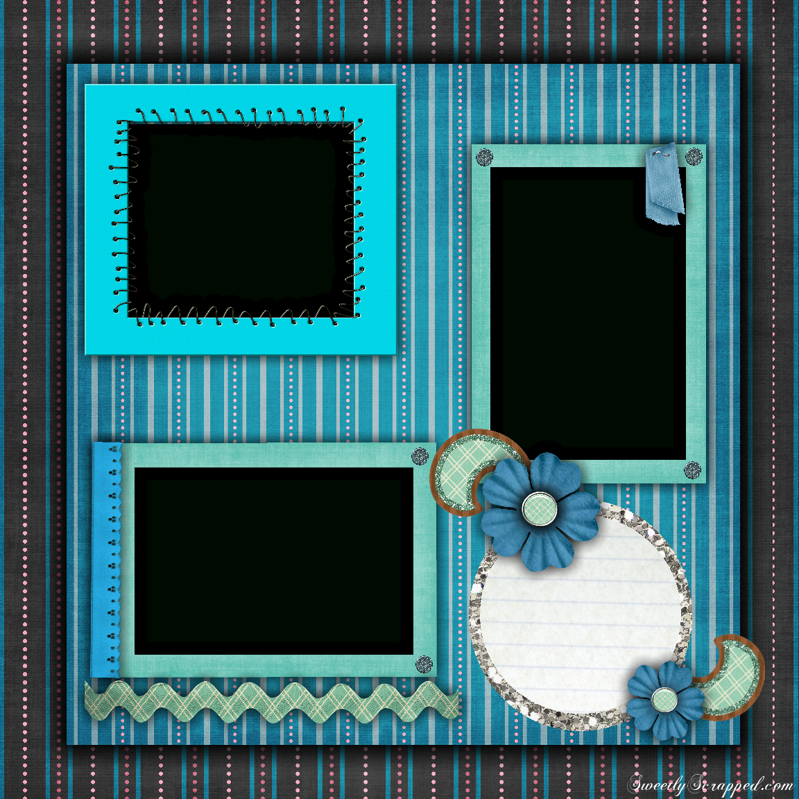 Free Printable Scrapbook Layouts | Blue And Stripes Layout File Size - Free Printable Scrapbook Page Designs