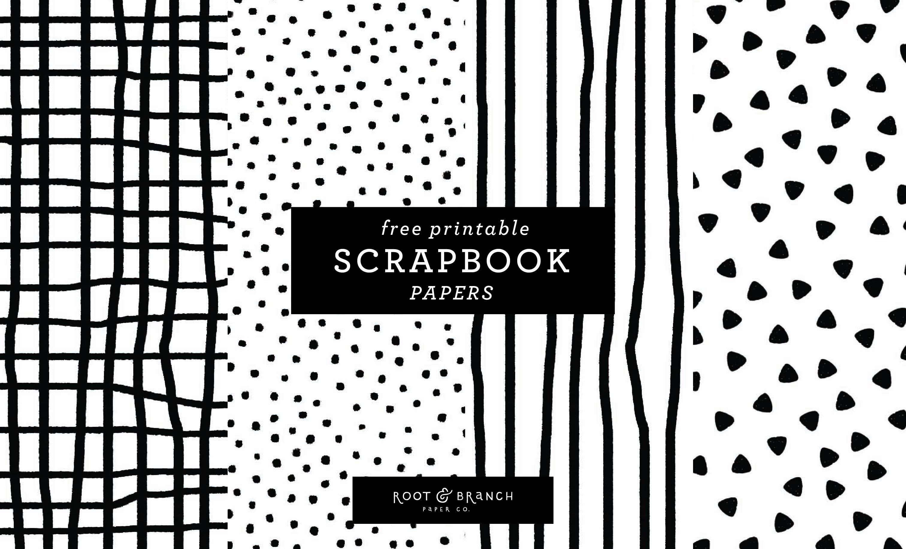 Free Printable Scrapbook Papers: Black And White Prints — Root - Free Printable Scrapbook Pages
