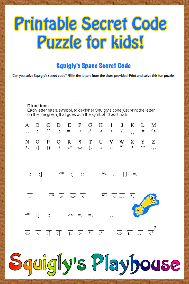 Free Printable Secret Code Word Puzzle For Kids. This Puzzle Has A - Free Printable Puzzles For Kids