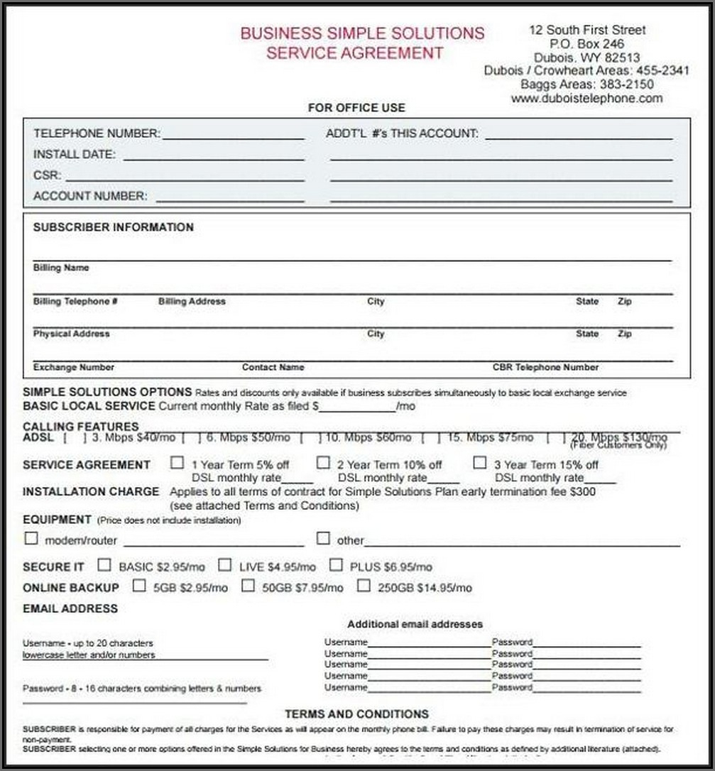 Free Printable Service Contract Template In Word #50 - Ocweb - Free Printable Service Contract Forms