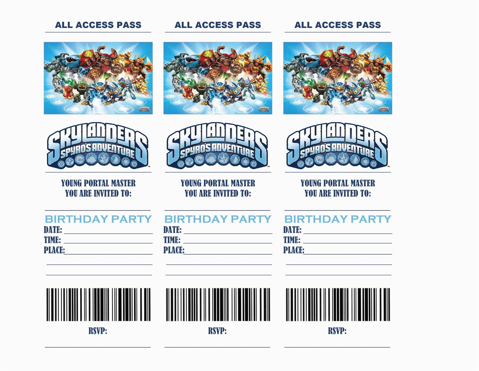 Free Printable Skylanders Birthday Invitations | Birthdaybuzz - Free Printable Skylander Invitations