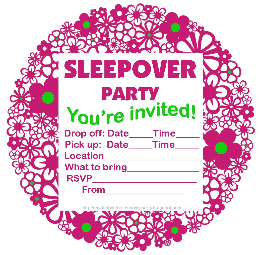 Free Printable Sleepover Party Invitations - Hundreds Of Slumber - Free Printable Event Invitations
