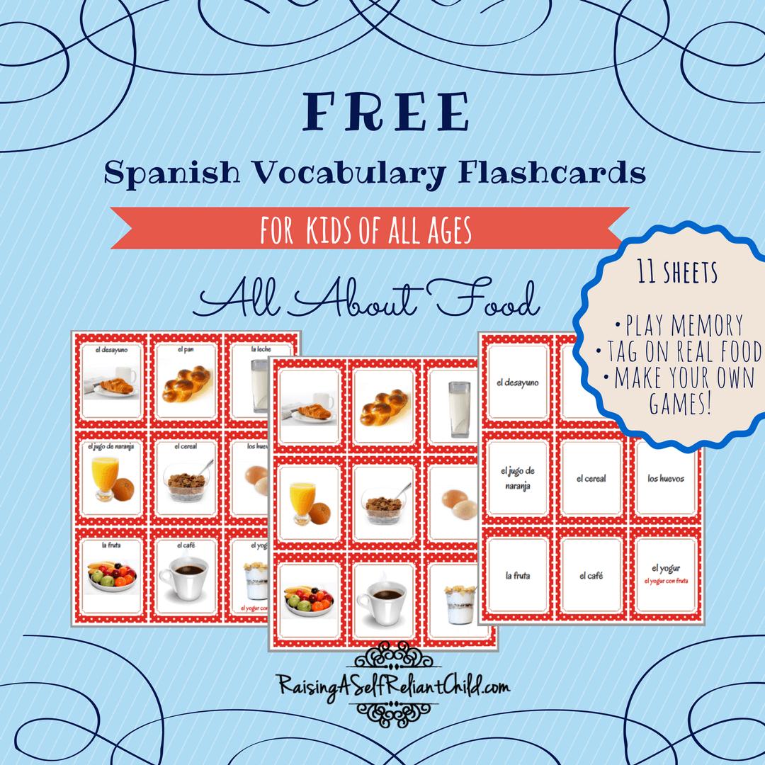 Free Printable Spanish Vocabulary Flashcards Common Foods | Spanish - Free Printable Vocabulary Flashcards