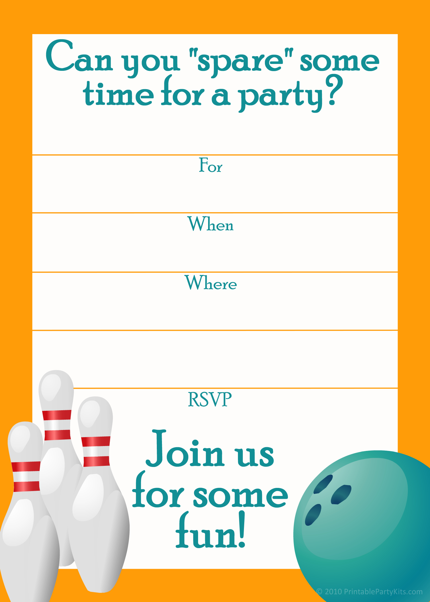 Free Printable Sports Birthday Party Invitations Templates | Party - Free Printable Bowling Ball Template