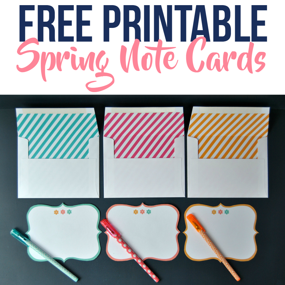 Free Printable Spring Note Cards With Lined Envelopes - Simple Made - Free Printable Note Cards