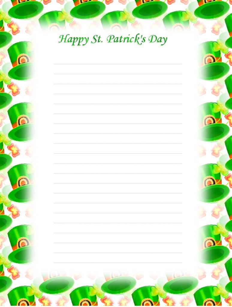 Free Printable St Patricks Day Stationery | Free Printable - Free Printable St Patricks Day Stationery