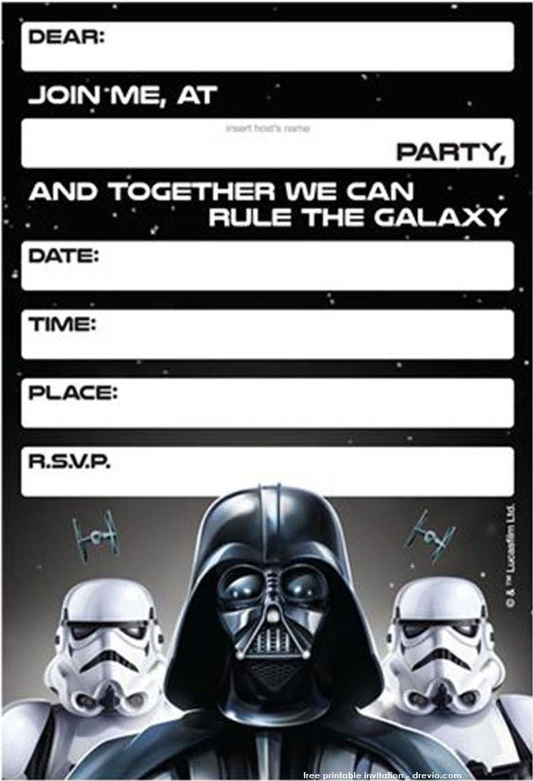 Free Printable Star Wars Birthday Invitations - Template | Free - Star Wars Invitations Free Printable